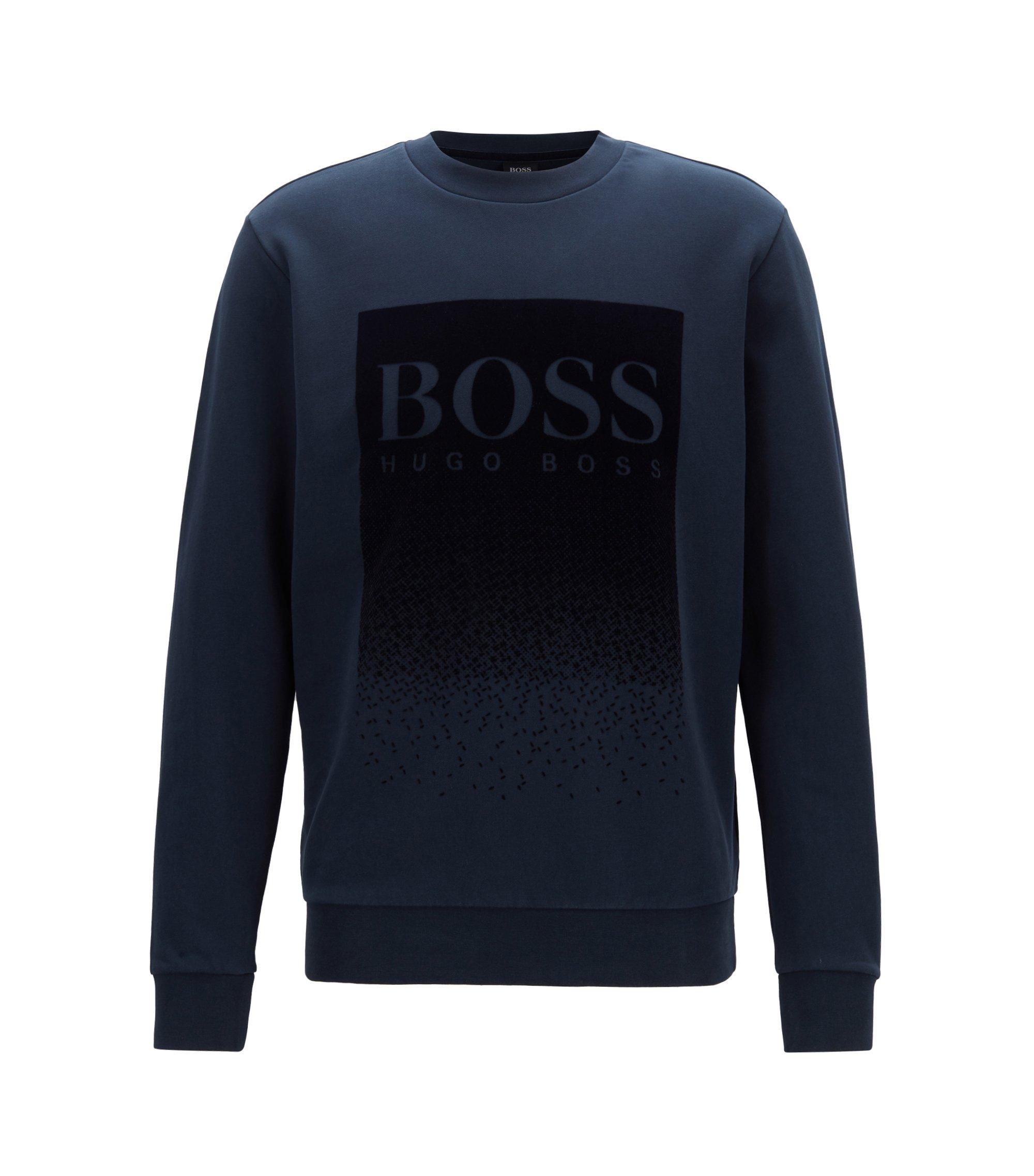 Sweater van badstof met logo in flockprint, Donkerblauw