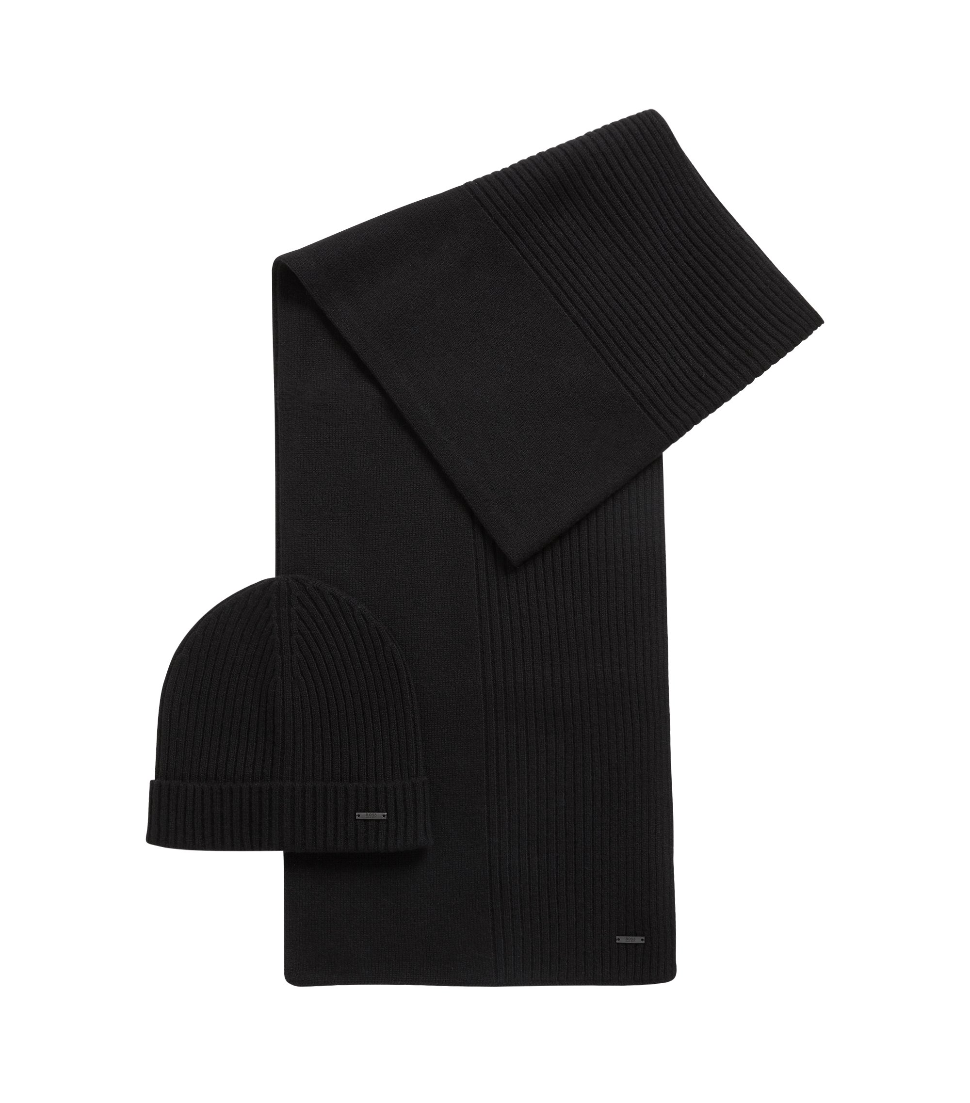 Ensemble bonnet et écharpe côtelés en pur cachemire, Noir