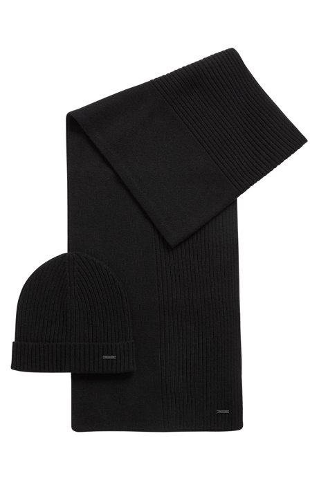 BOSS - Ribbed beanie and scarf set in pure cashmere 42a09708d7aa