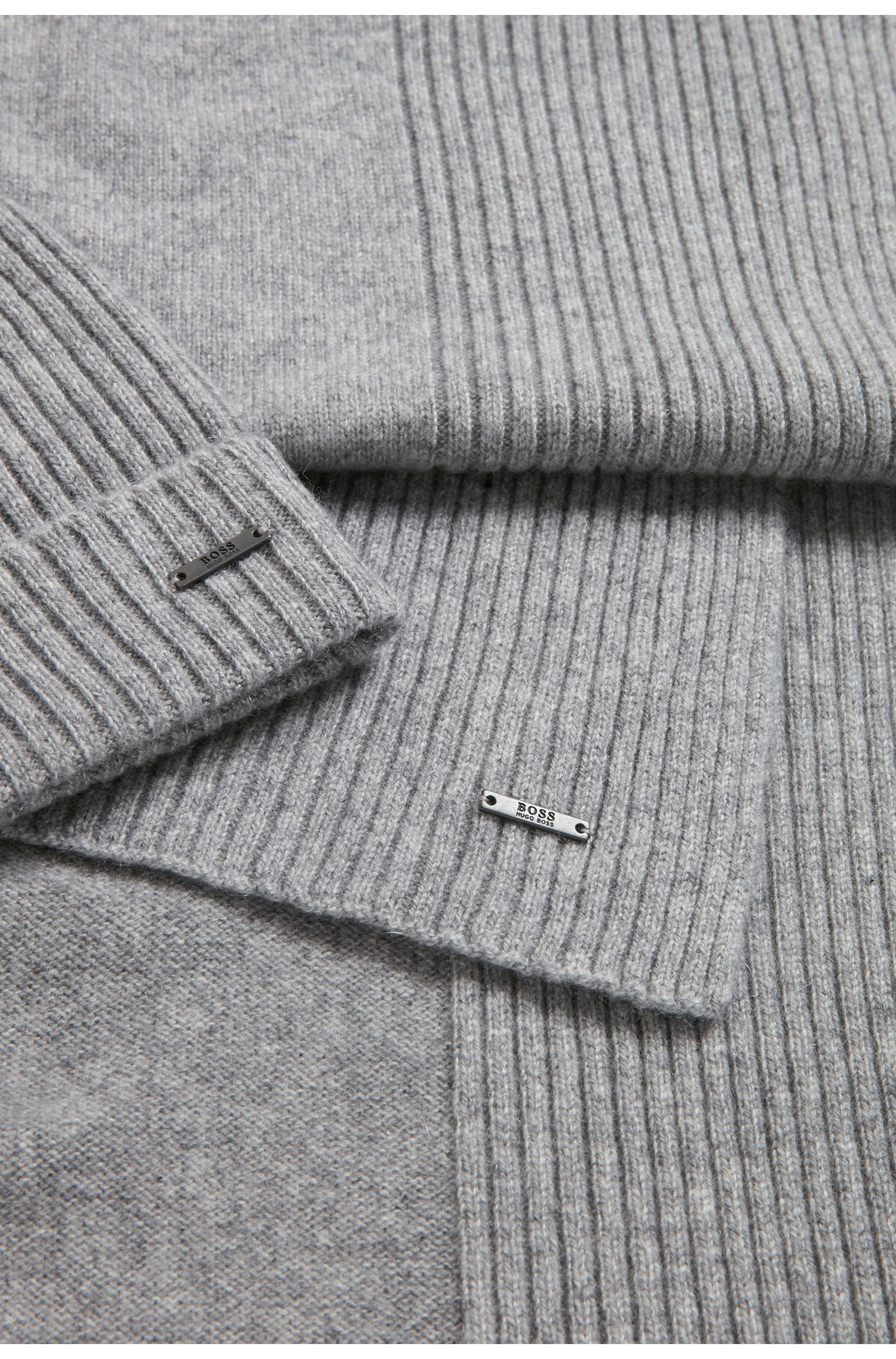 Ribbed beanie and scarf set in pure cashmere, Silver