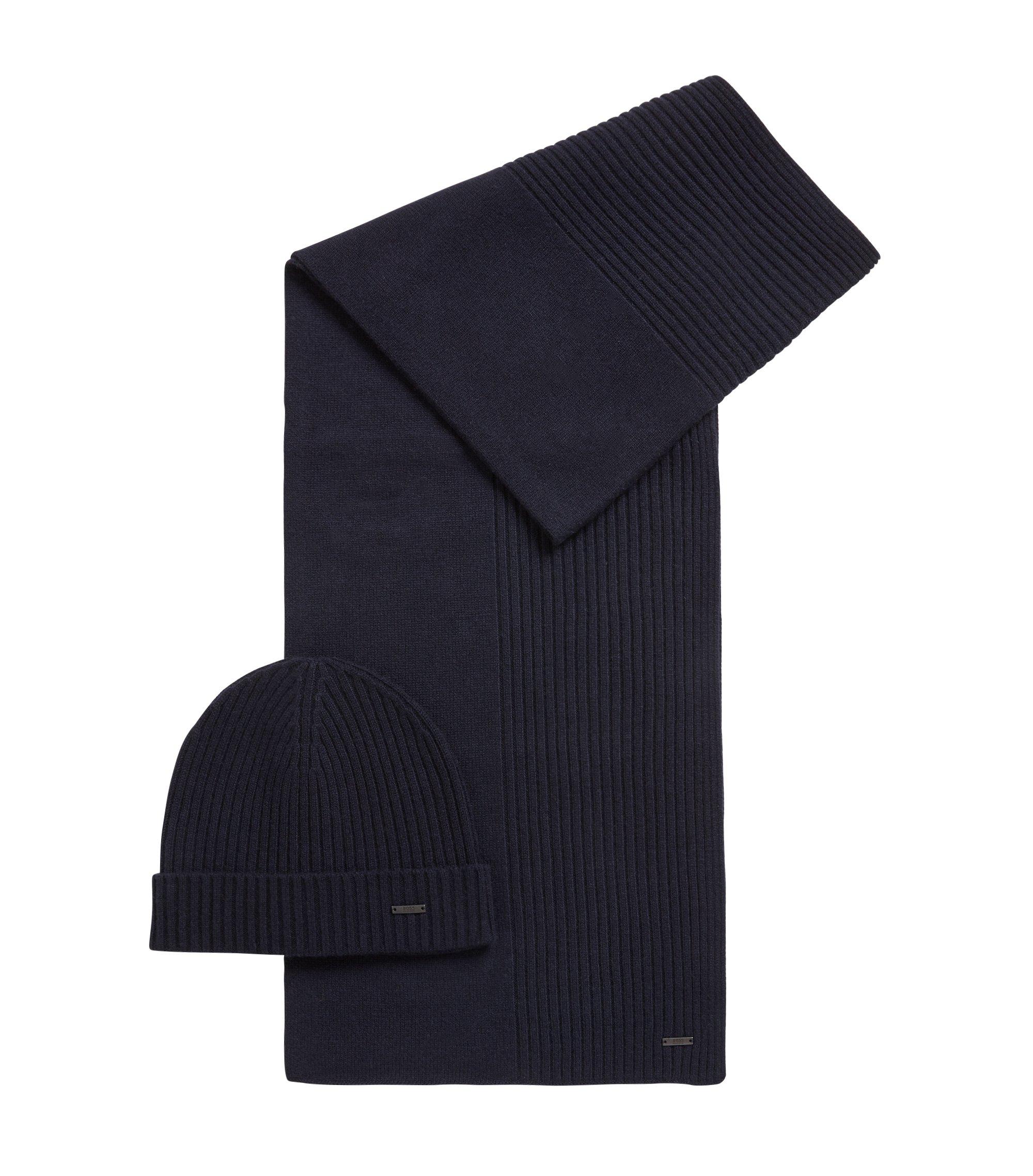 Ensemble bonnet et écharpe côtelés en pur cachemire, Bleu foncé