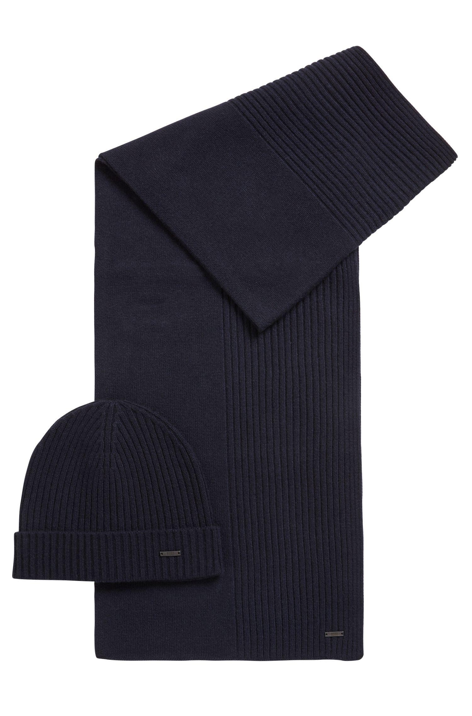 Set aus Mütze und Schal aus reinem Kaschmir, Dunkelblau