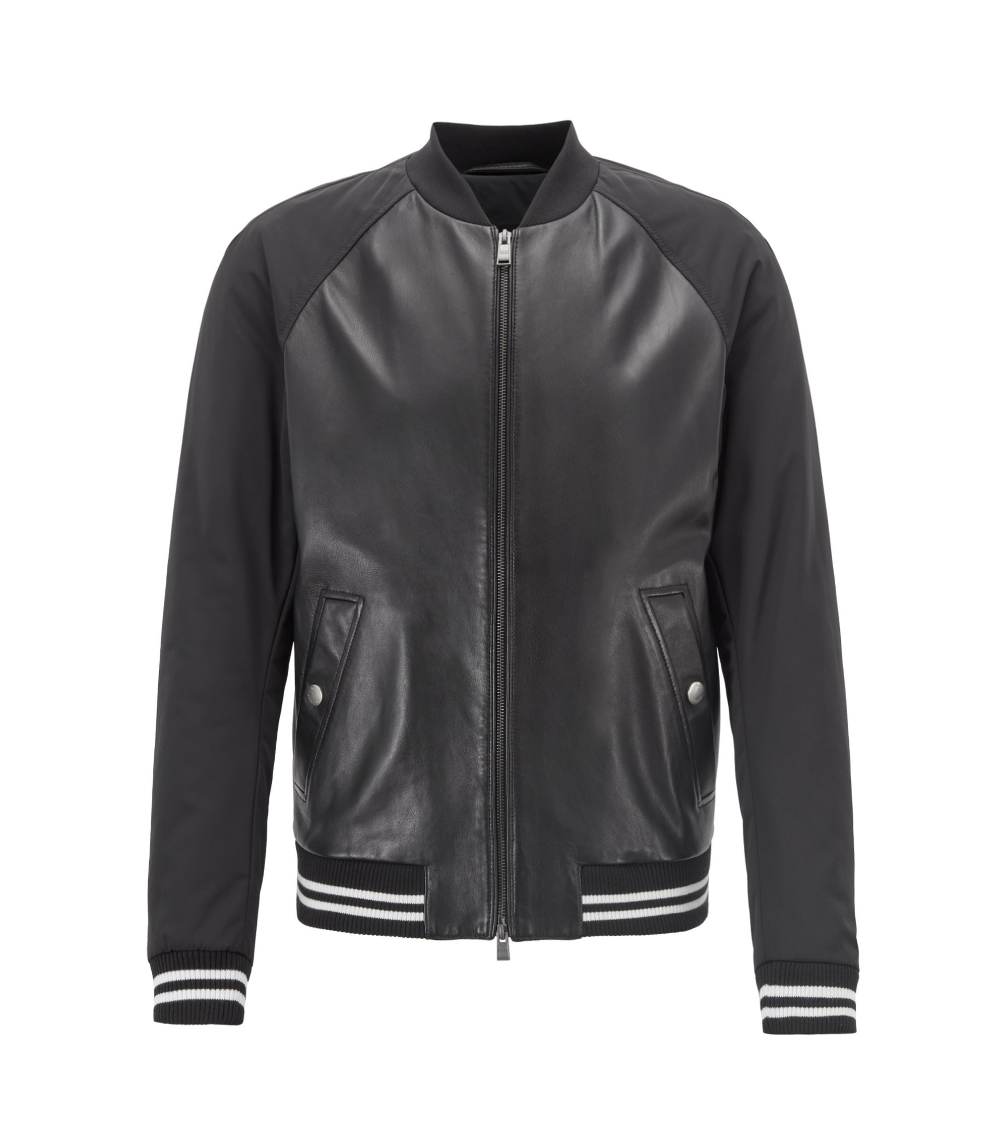 Bomber jacket in lambskin leather and technical fabric, Black