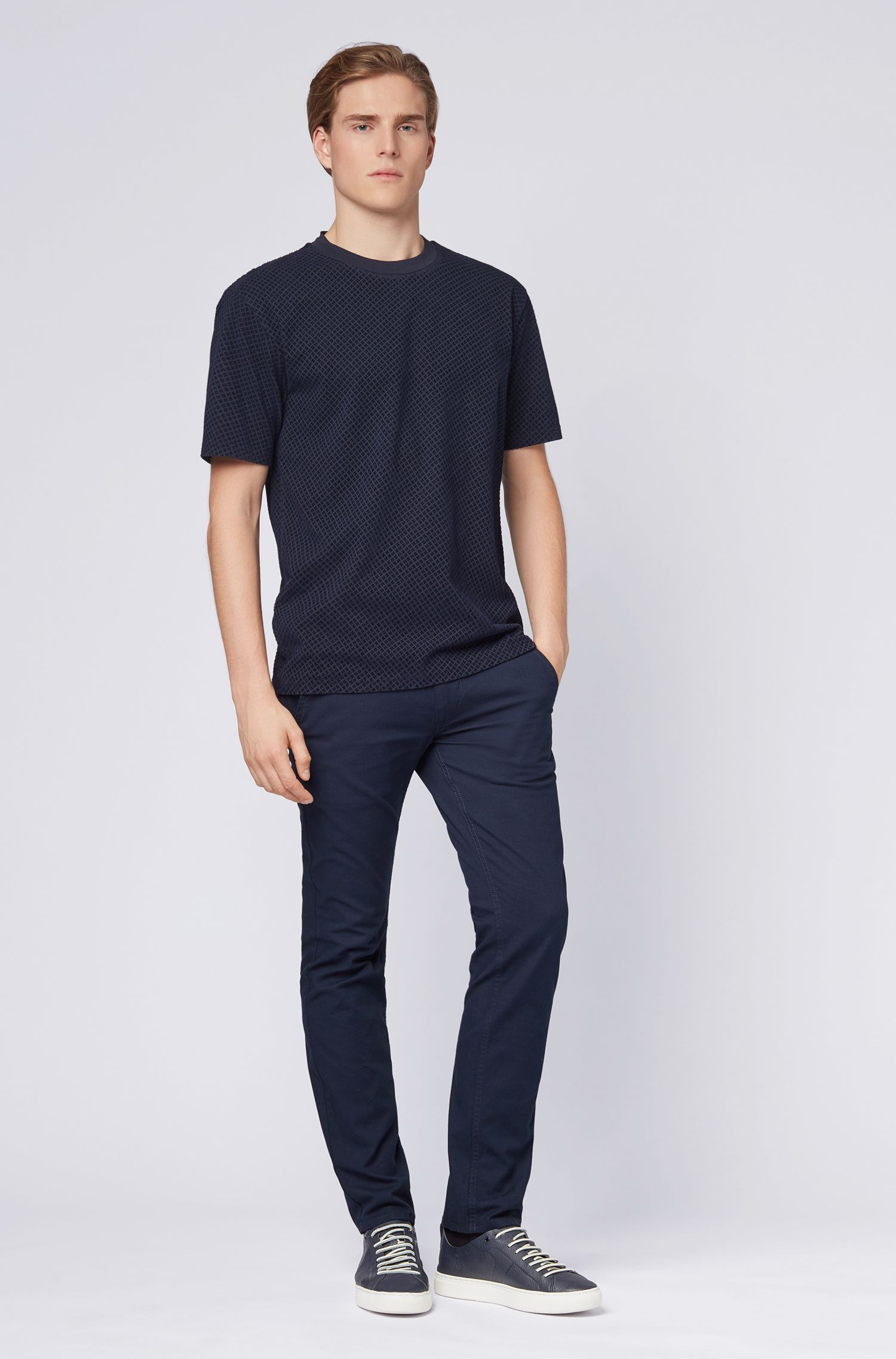 Relaxed-fit cotton T-shirt with flocked industrial print, Dark Blue
