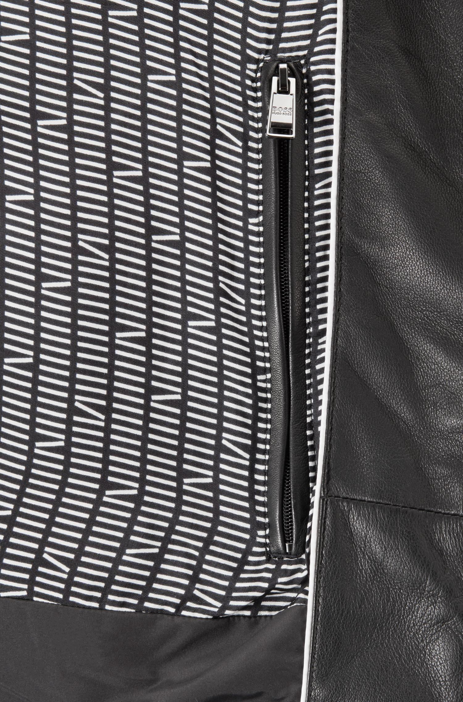 Cazadora acolchada de piel y loneta técnica, Negro