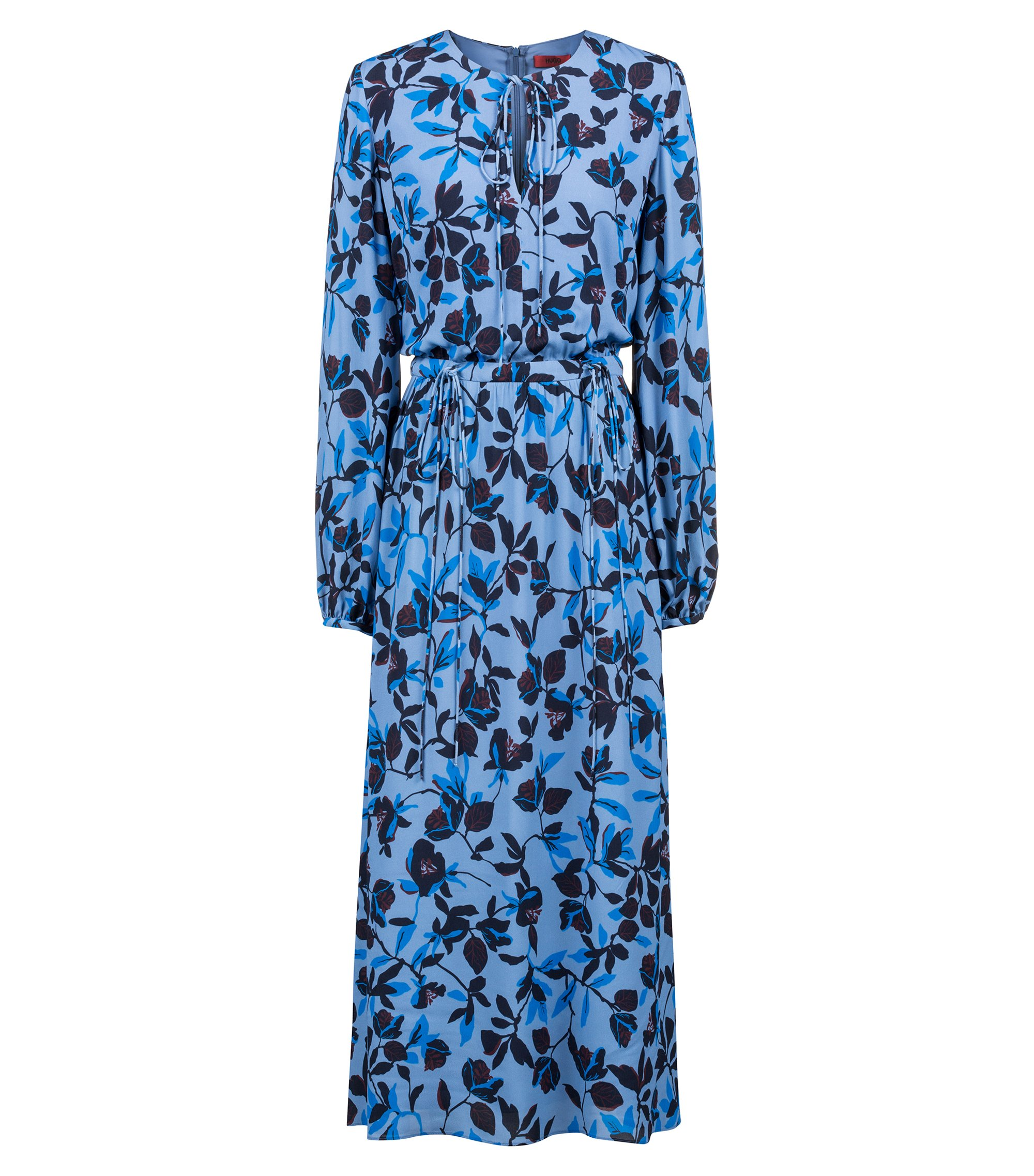Lightweight midi dress with flower print and bow detailing, Patterned