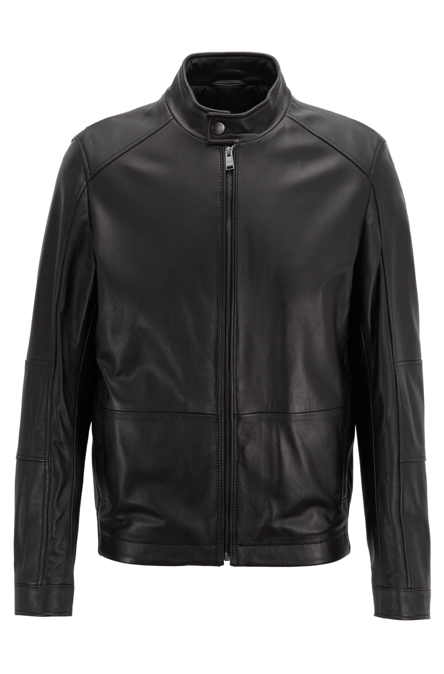 Blouson regular fit in nappa di agnello, Nero