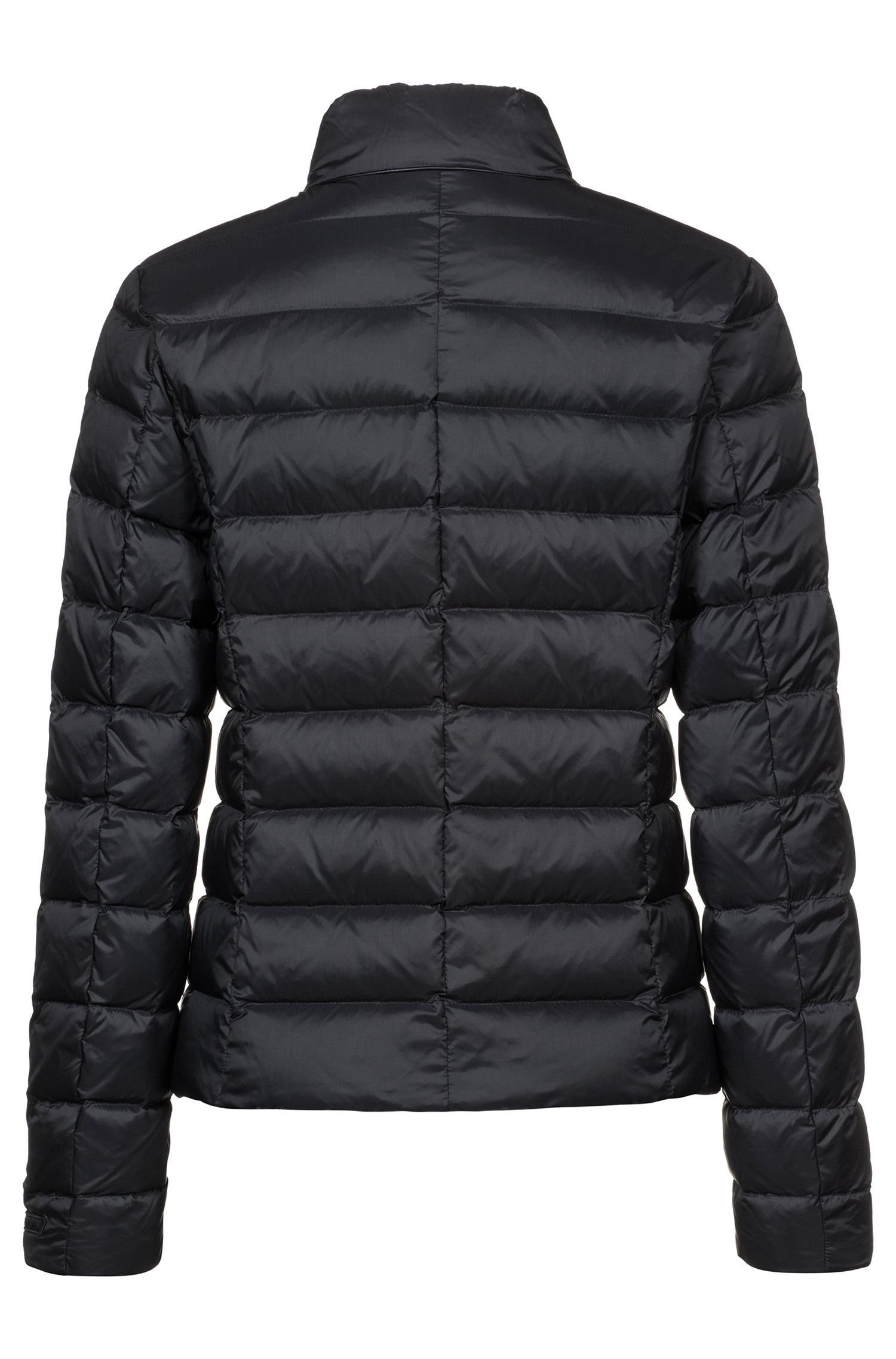 Water-repellent down-filled jacket with faux-leather pipings, Black