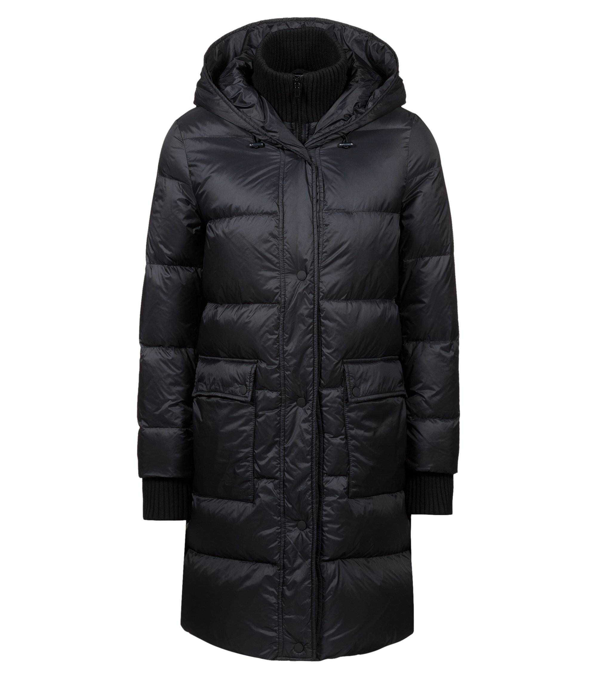 Water-repellent down-filled coat with knitted insert, Black