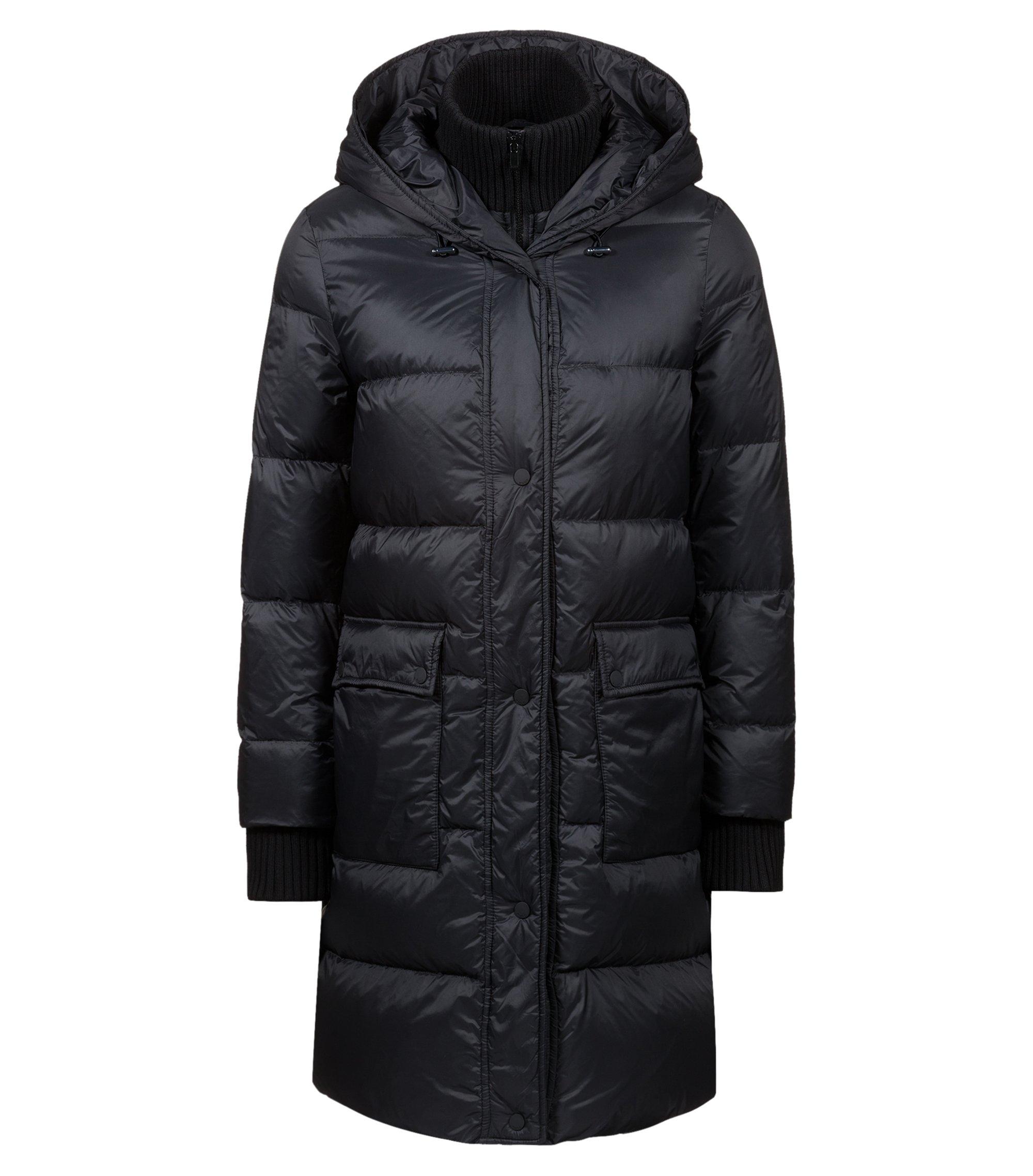 Waterafstotende mantel met donsvulling en gebreide inzet, Zwart