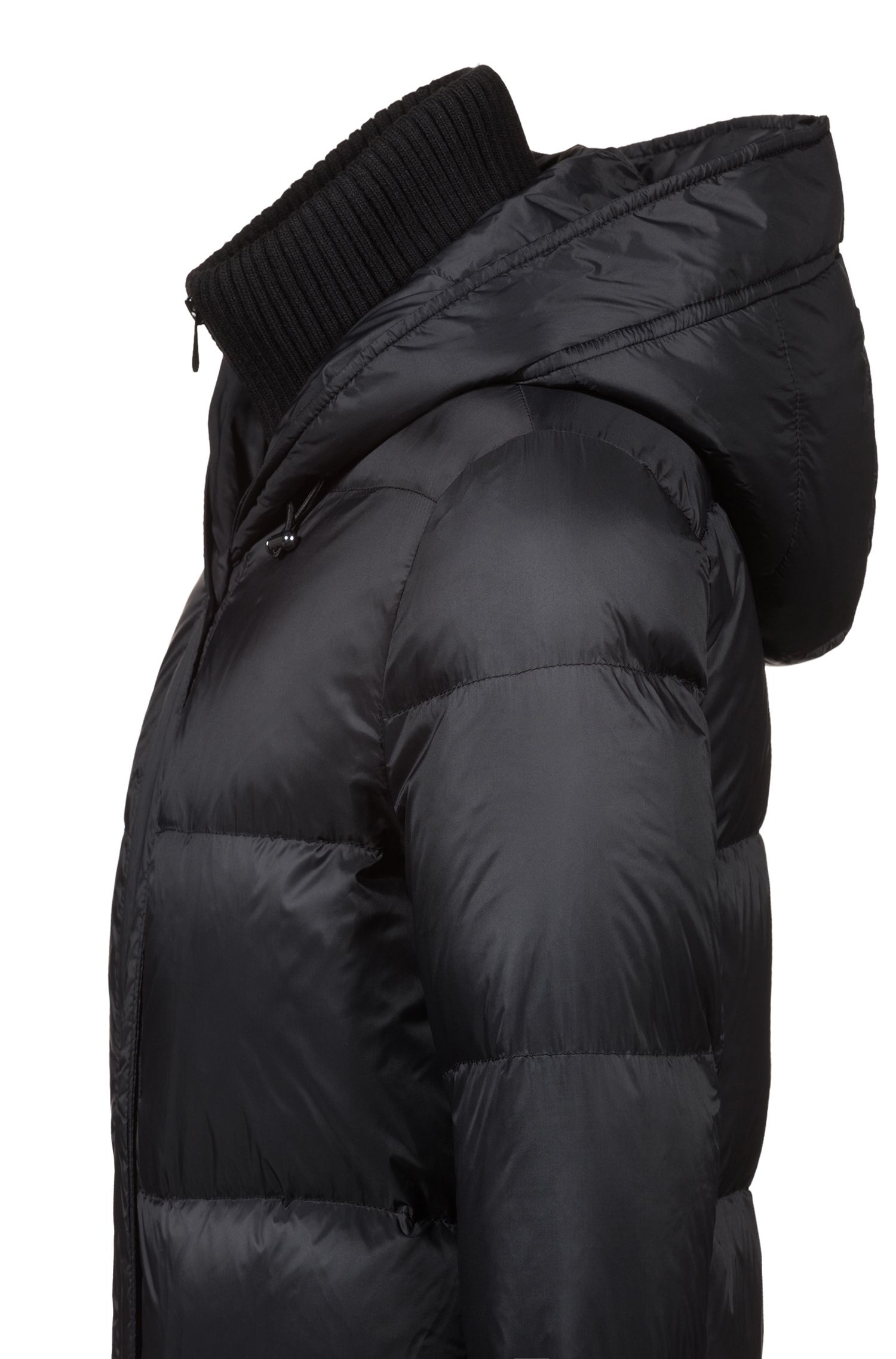 Water-repellent down-filled coat with knitted insert