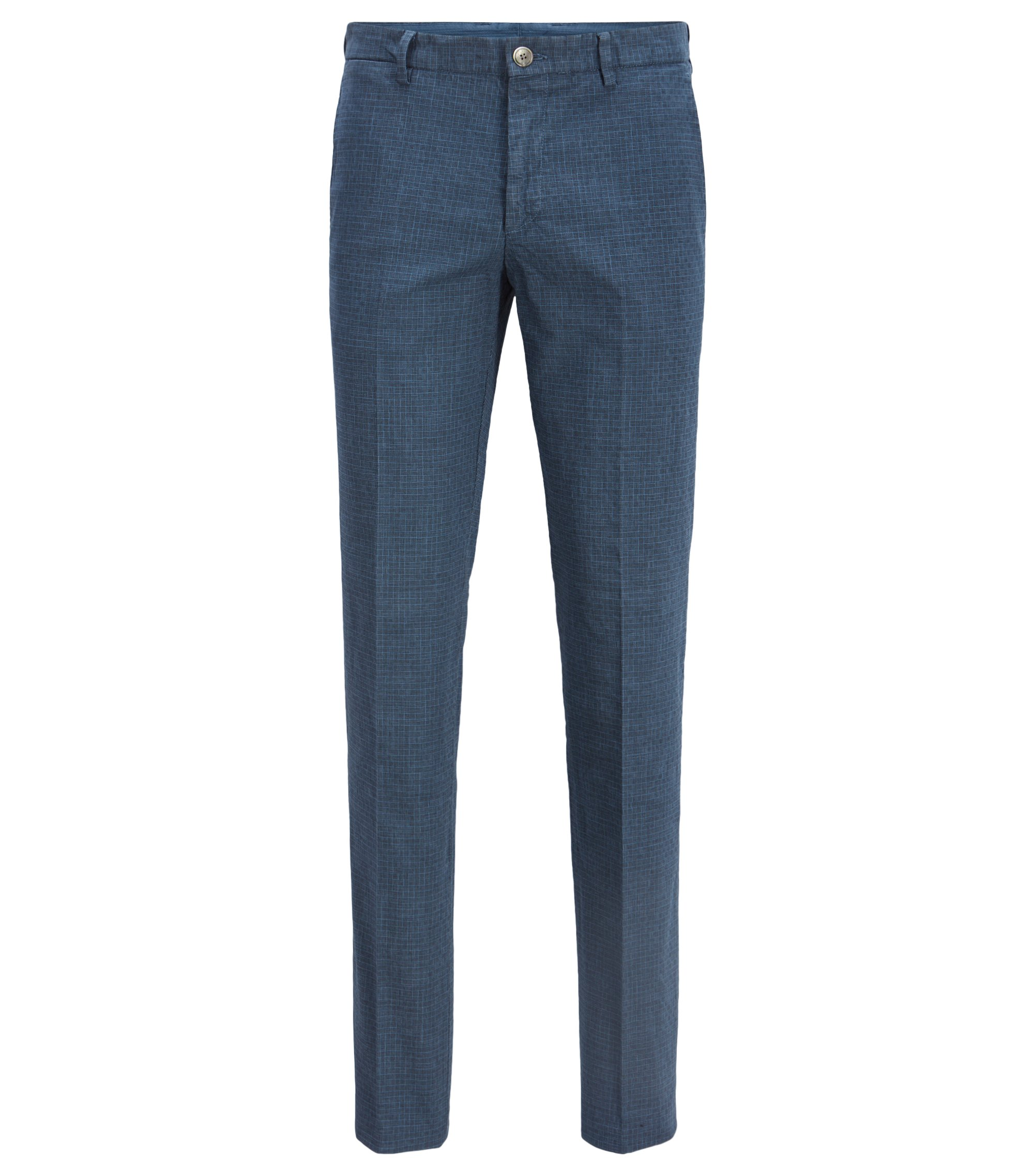 Slim-fit stretch-cotton trousers with swallowtail waistband, Open Blue