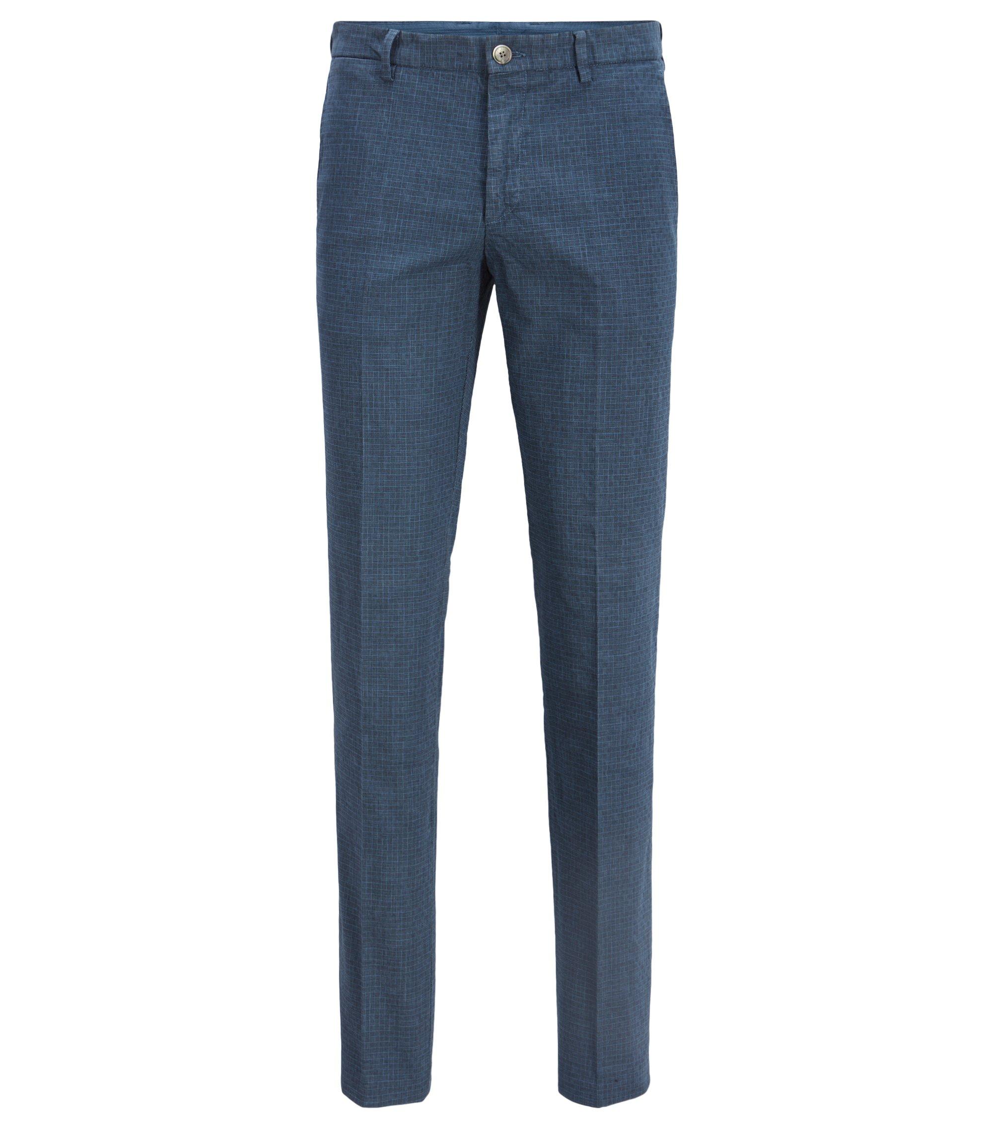 Slim-fit broek van stretchkatoen, met zwaluwstaart op de tailleband, Lichtblauw