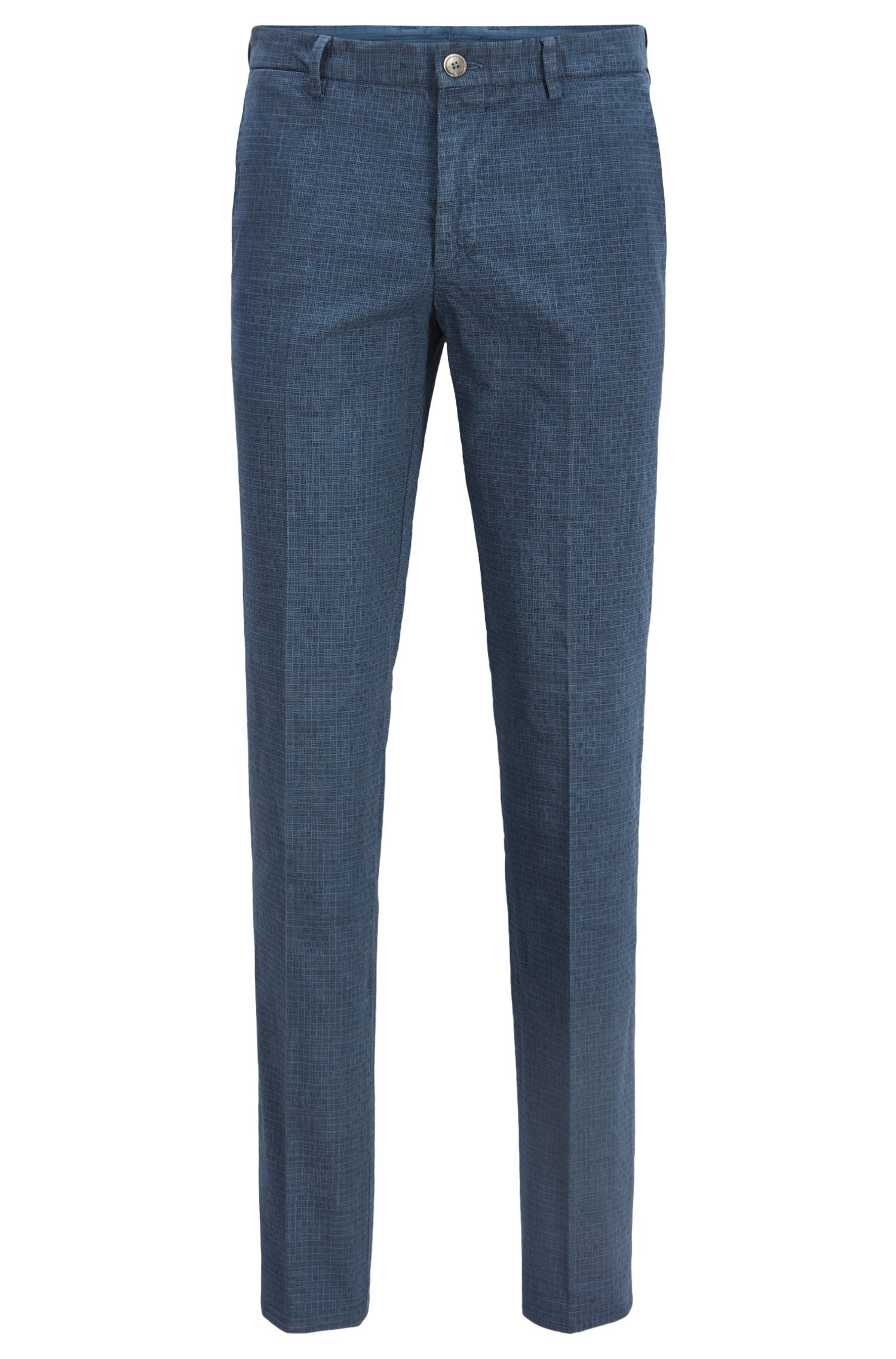 Pantalon Slim Fit en coton stretch avec ceinture queue d'hirondelle, Bleu vif