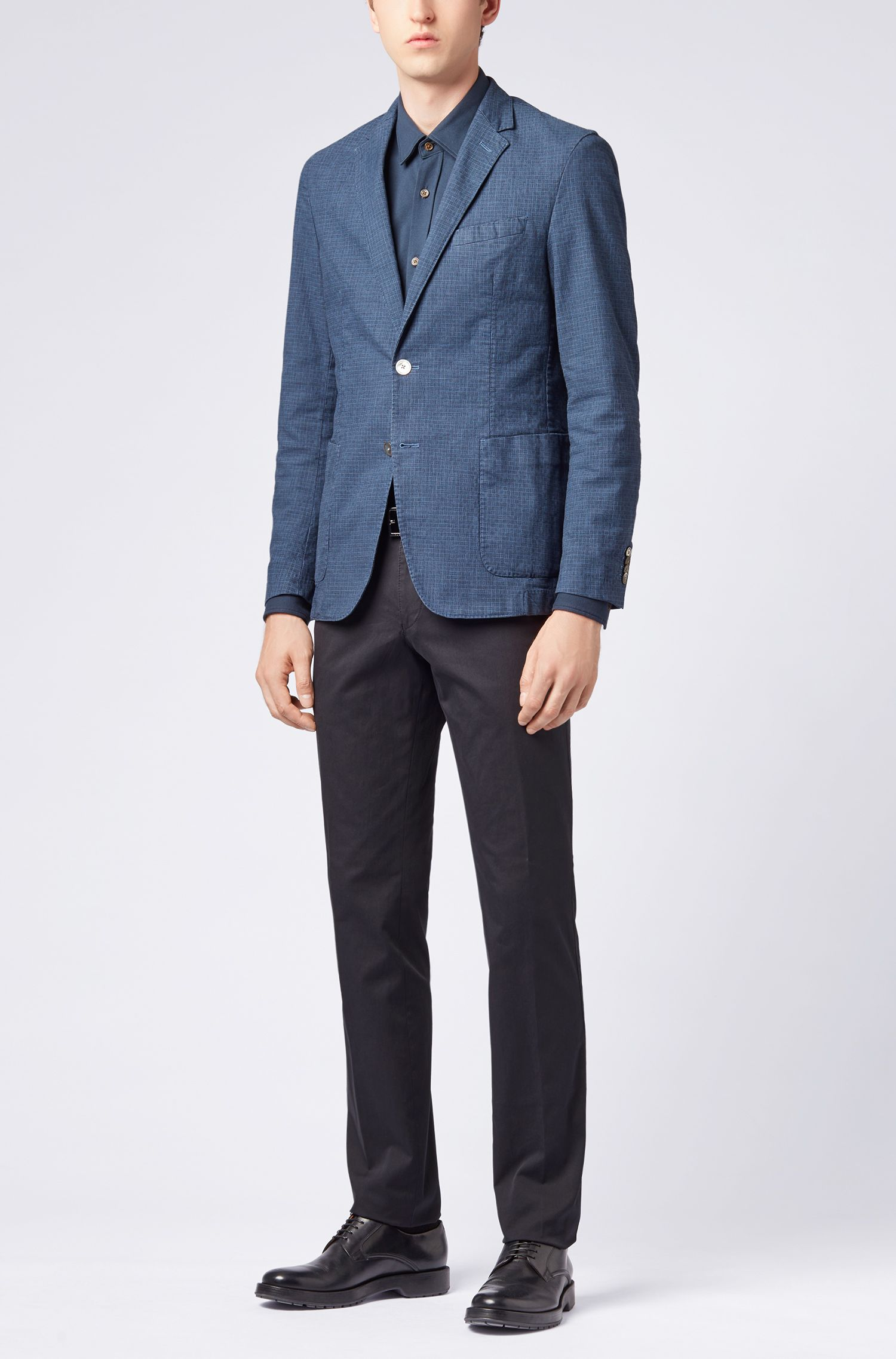 Slim-fit blazer van garment-dyed stretchkatoen