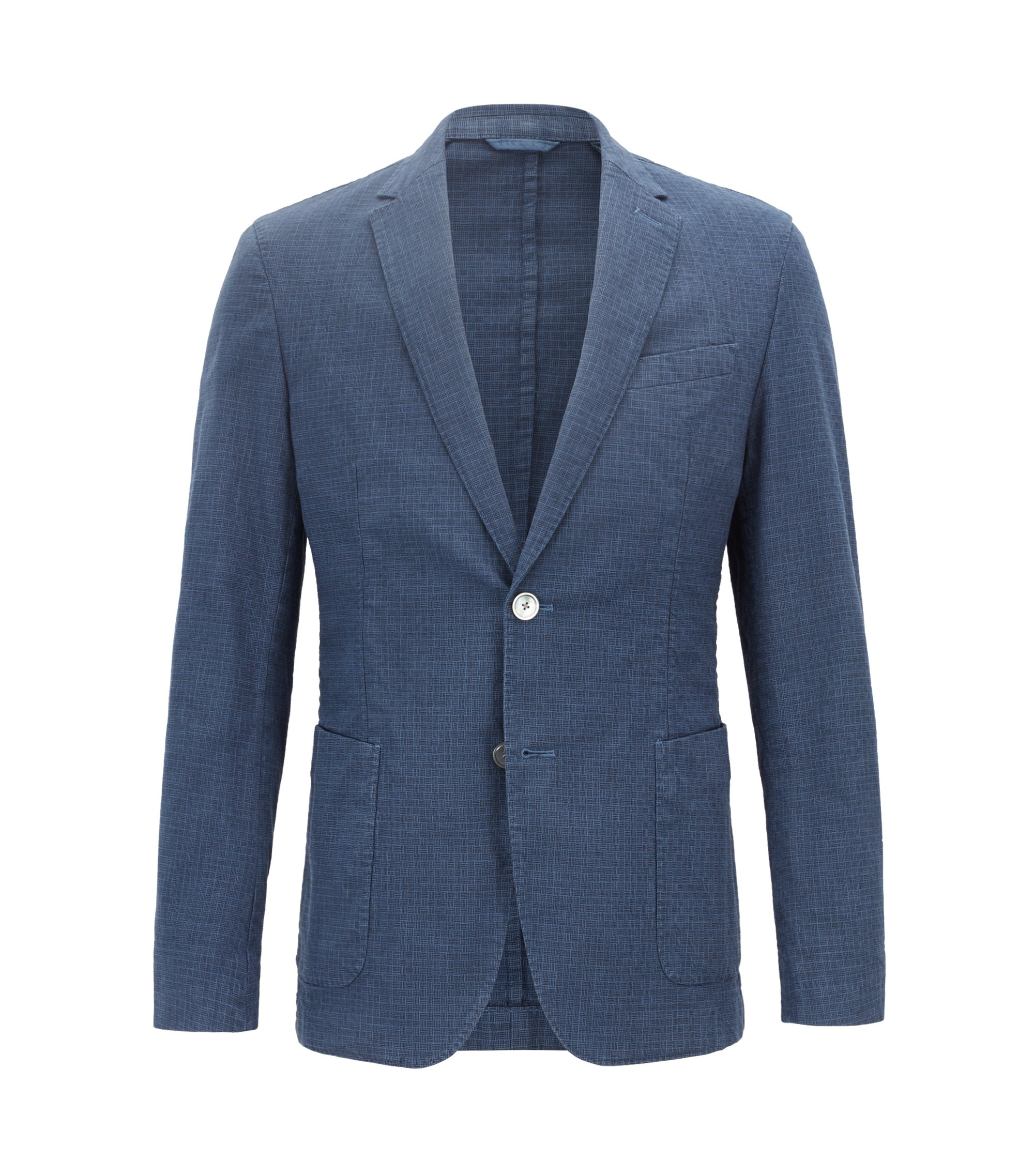 Slim-fit blazer in garment-dyed stretch cotton, Blue