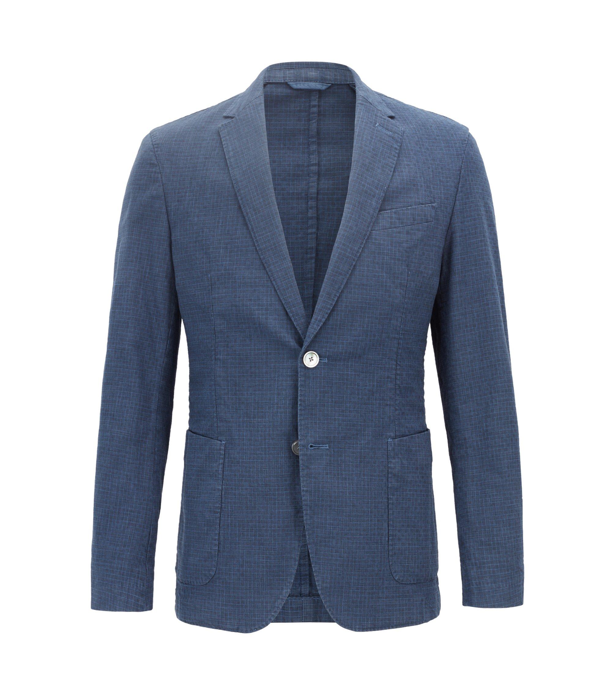 Slim-Fit Sakko aus stückgefärbter Stretch-Baumwolle, Blau