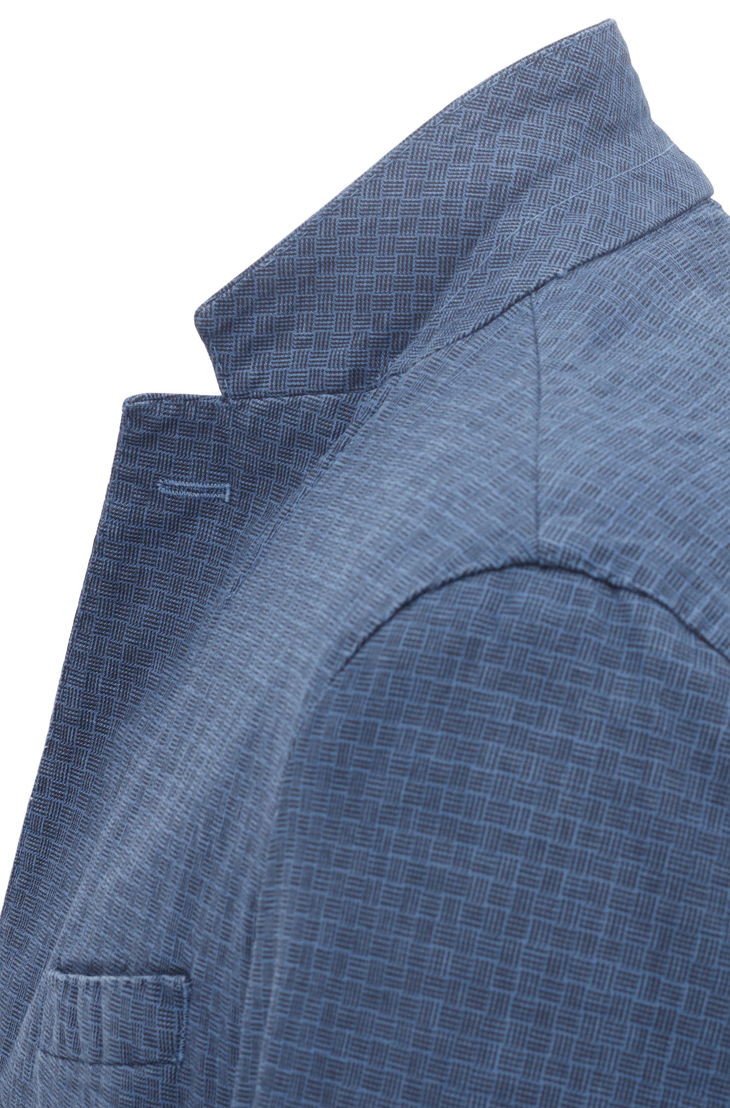 Slim-fit blazer van garment-dyed stretchkatoen, Blauw