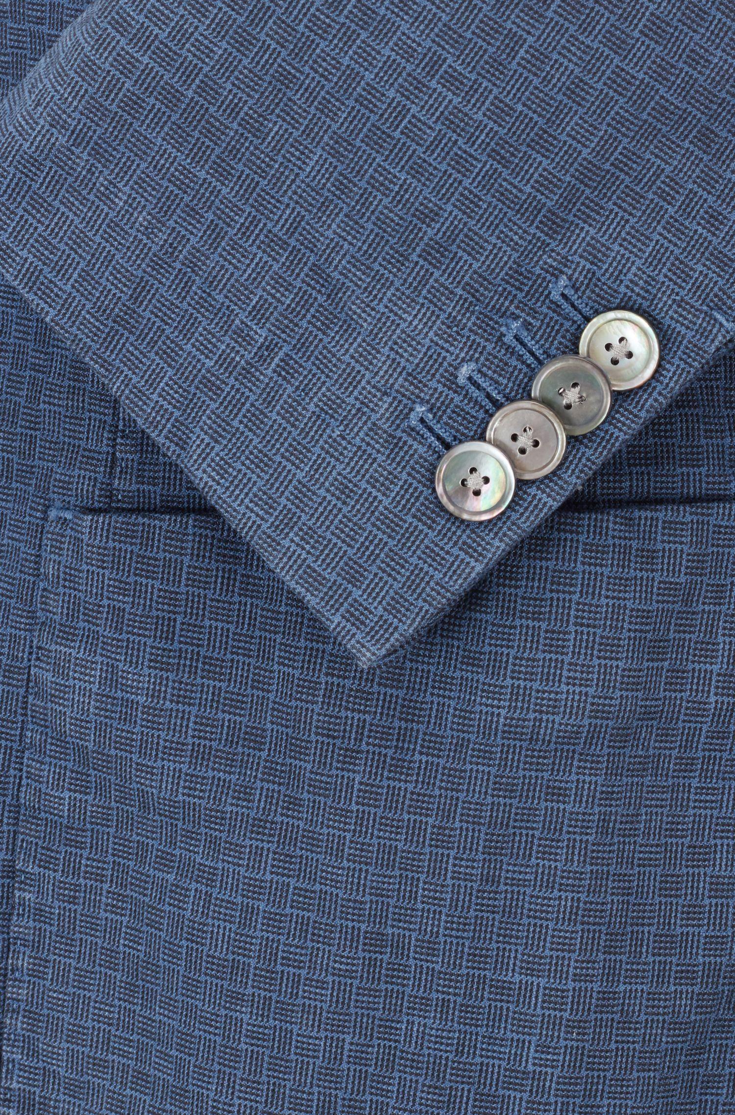 Slim-fit blazer in garment-dyed stretch cotton, Blue