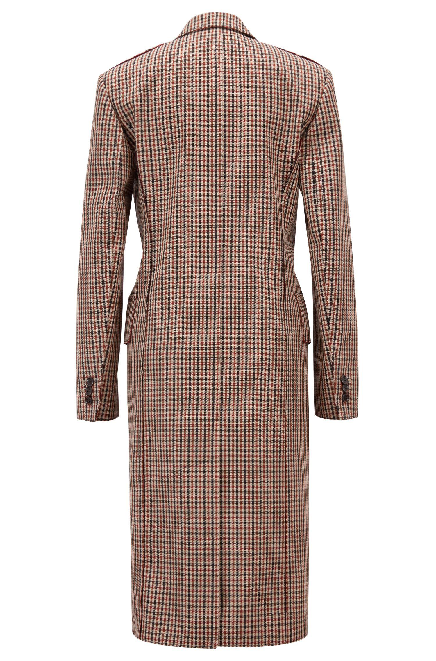 Manteau croisé Made in Germany avec revers en pointe, Brun chiné