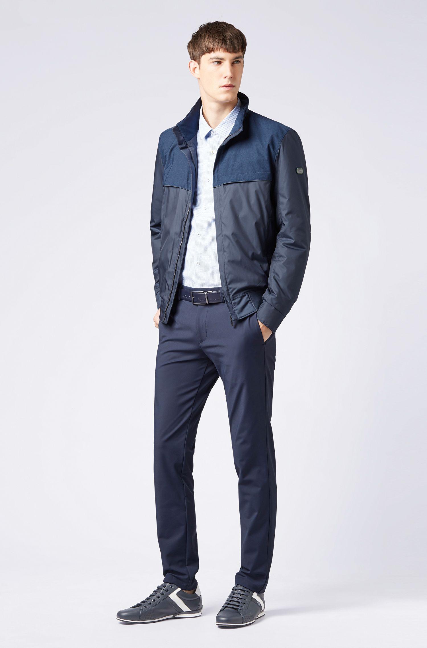 Gemustertes Slim-Fit Hemd aus strukturierter Baumwolle mit Logo, Hellblau