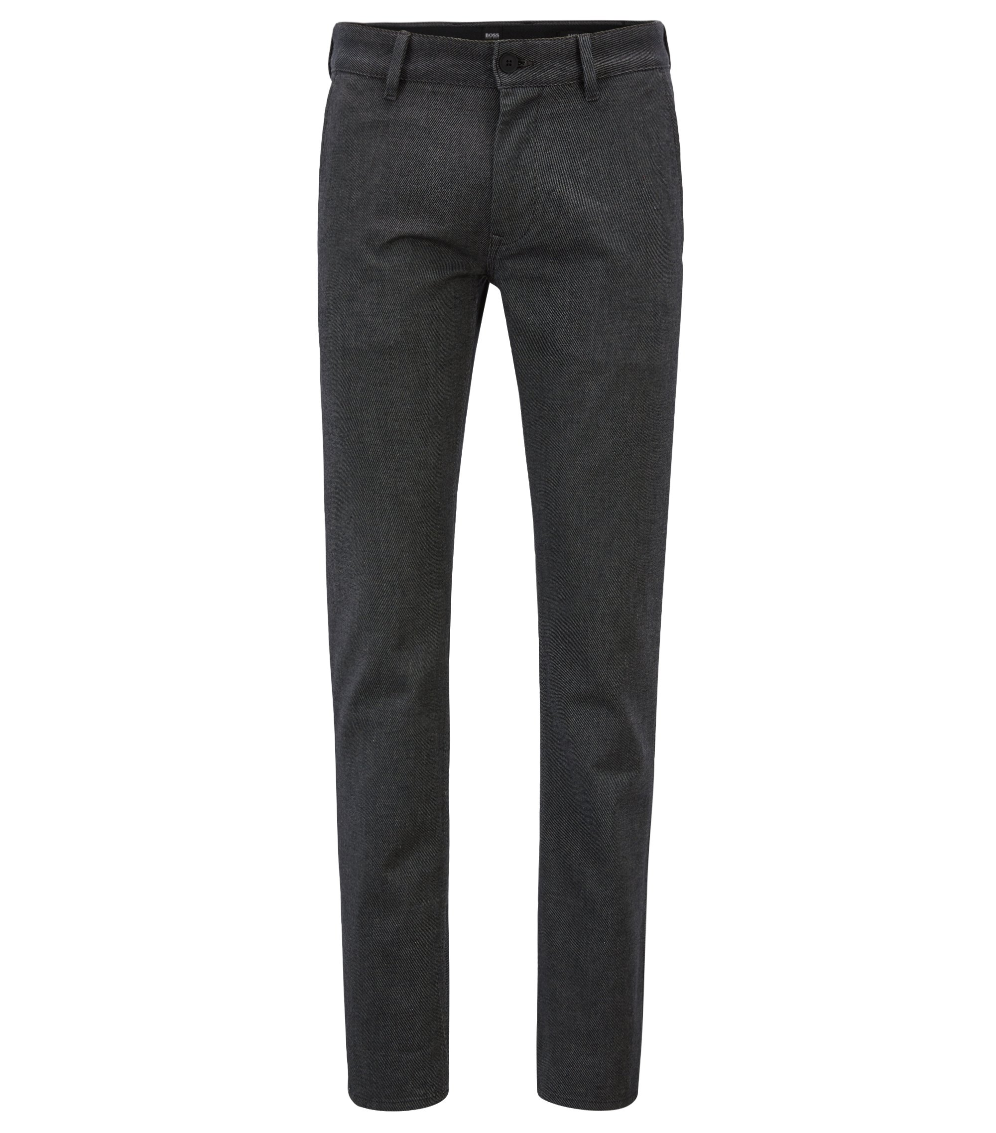 Pantalon Slim Fit en coton stretch bicolore, Noir