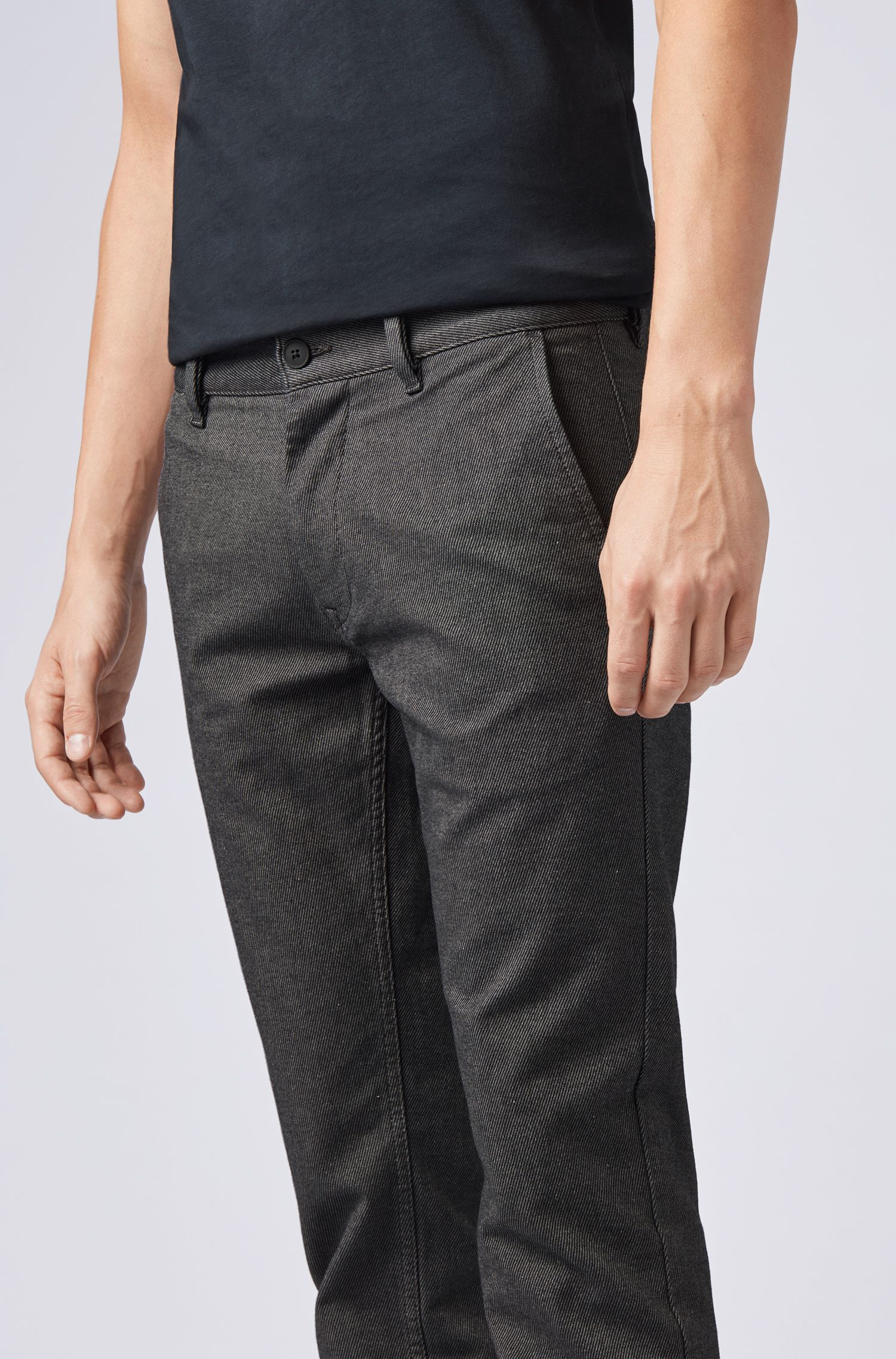 Slim-fit trousers in two-tone stretch cotton, Black