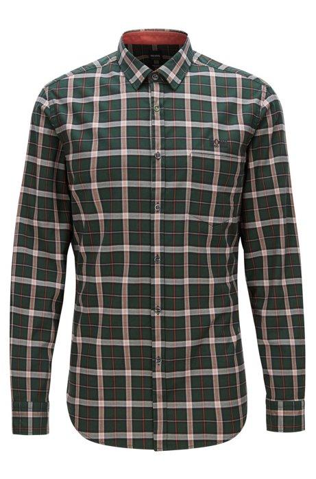 Donkergroen Overhemd.Boss Regular Fit Overhemd In Een Twill Van Geruite Stretchkatoen