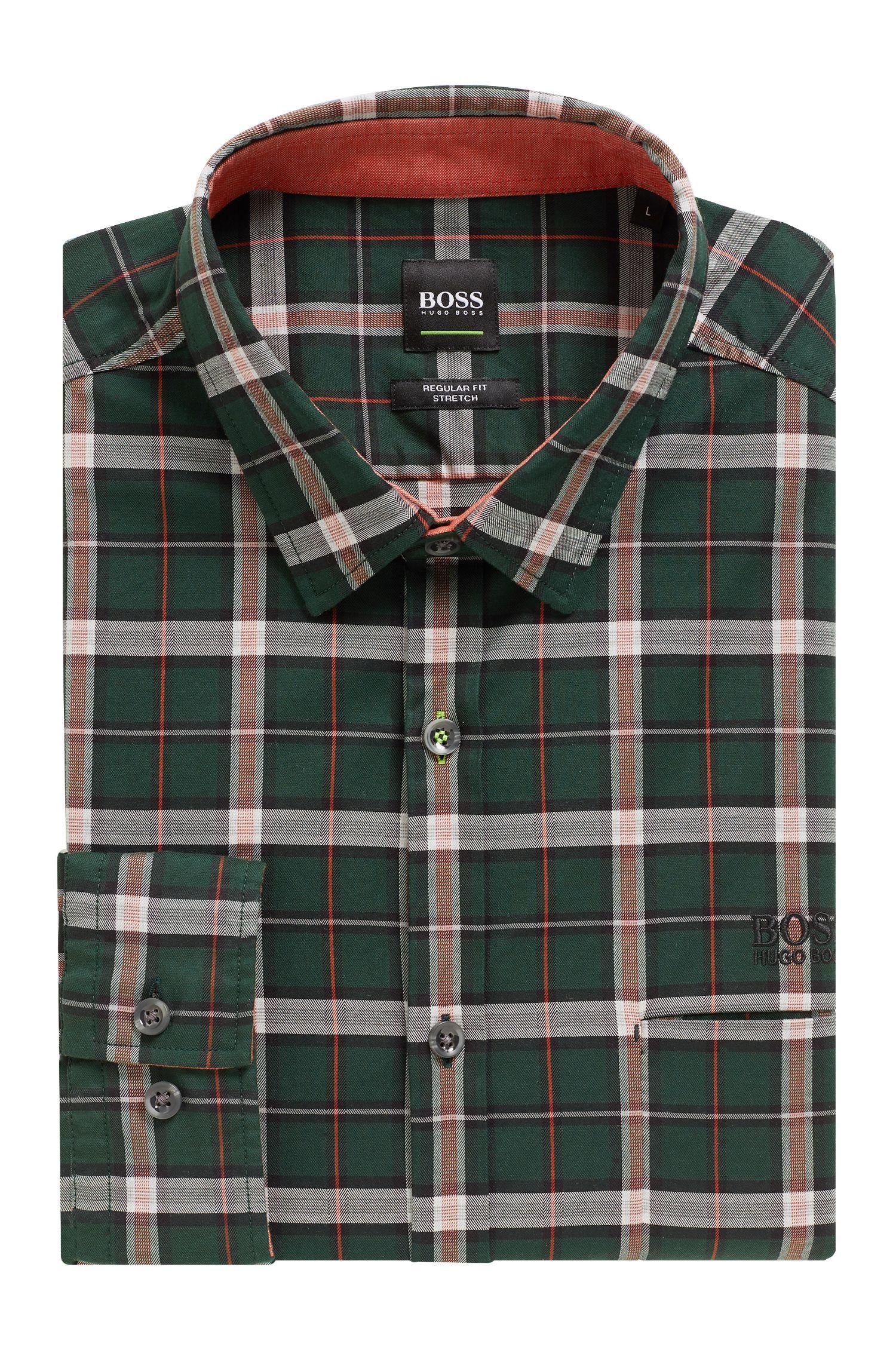 Chemise Regular Fit en twill de coton stretch à carreaux, Vert sombre