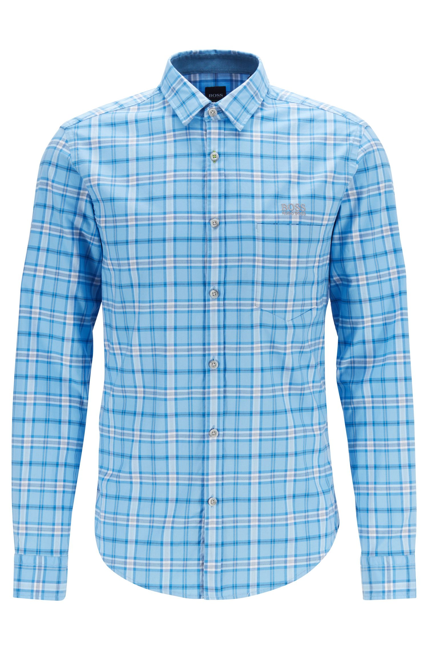 Chemise Regular Fit en twill de coton stretch à carreaux, Bleu