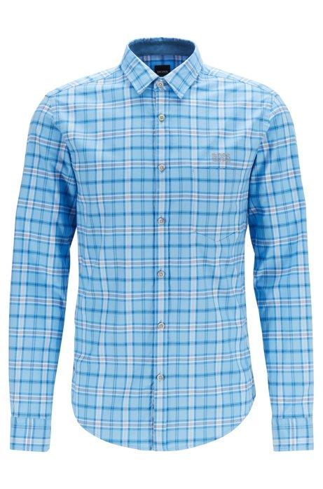 Chemise Regular Fit en twill de coton stretch à carreaux, Bleu