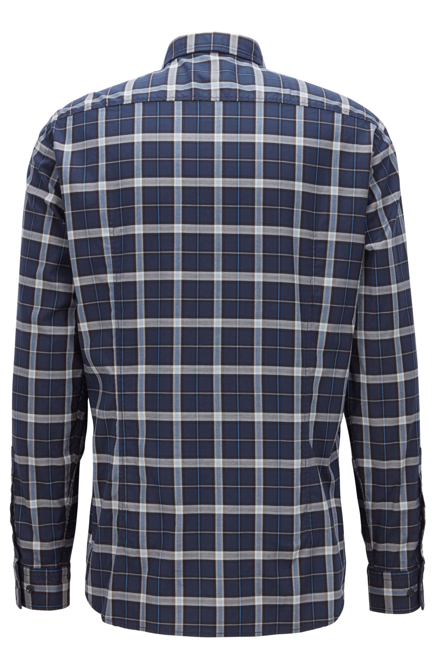 Kariertes Regular-Fit Hemd aus elastischem Baumwoll-Twill, Dunkelblau