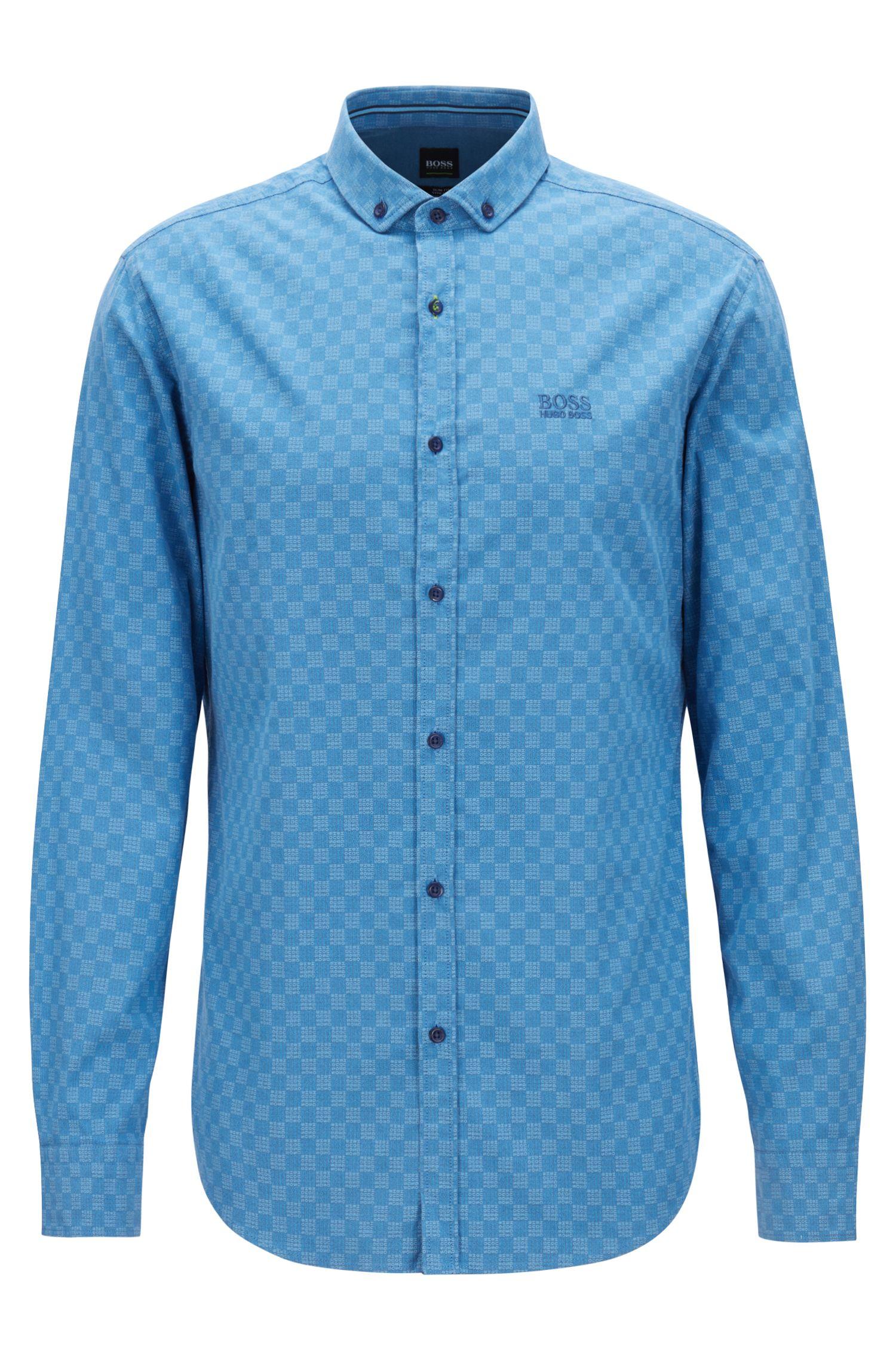 Chemise Slim Fit en coton stretch à imprimé logo, Bleu