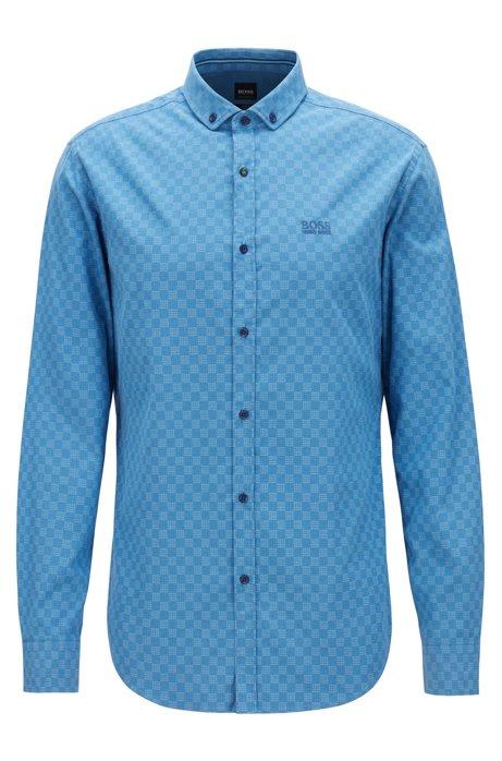 Slim-fit overhemd van stretchkatoen met logoprint, Blauw
