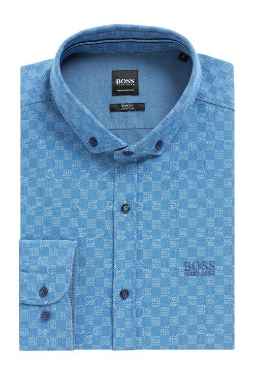 Hugo Boss - Camisa slim fit de algodón elástico con logo estampado - 5