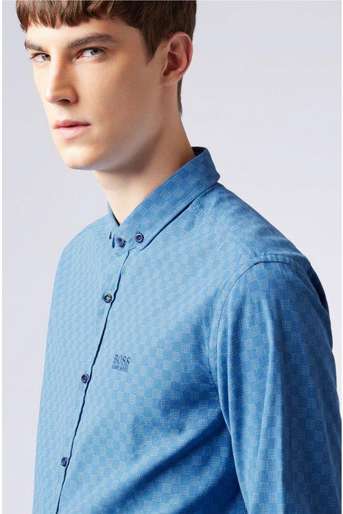 Hugo Boss - Camisa slim fit de algodón elástico con logo estampado - 4