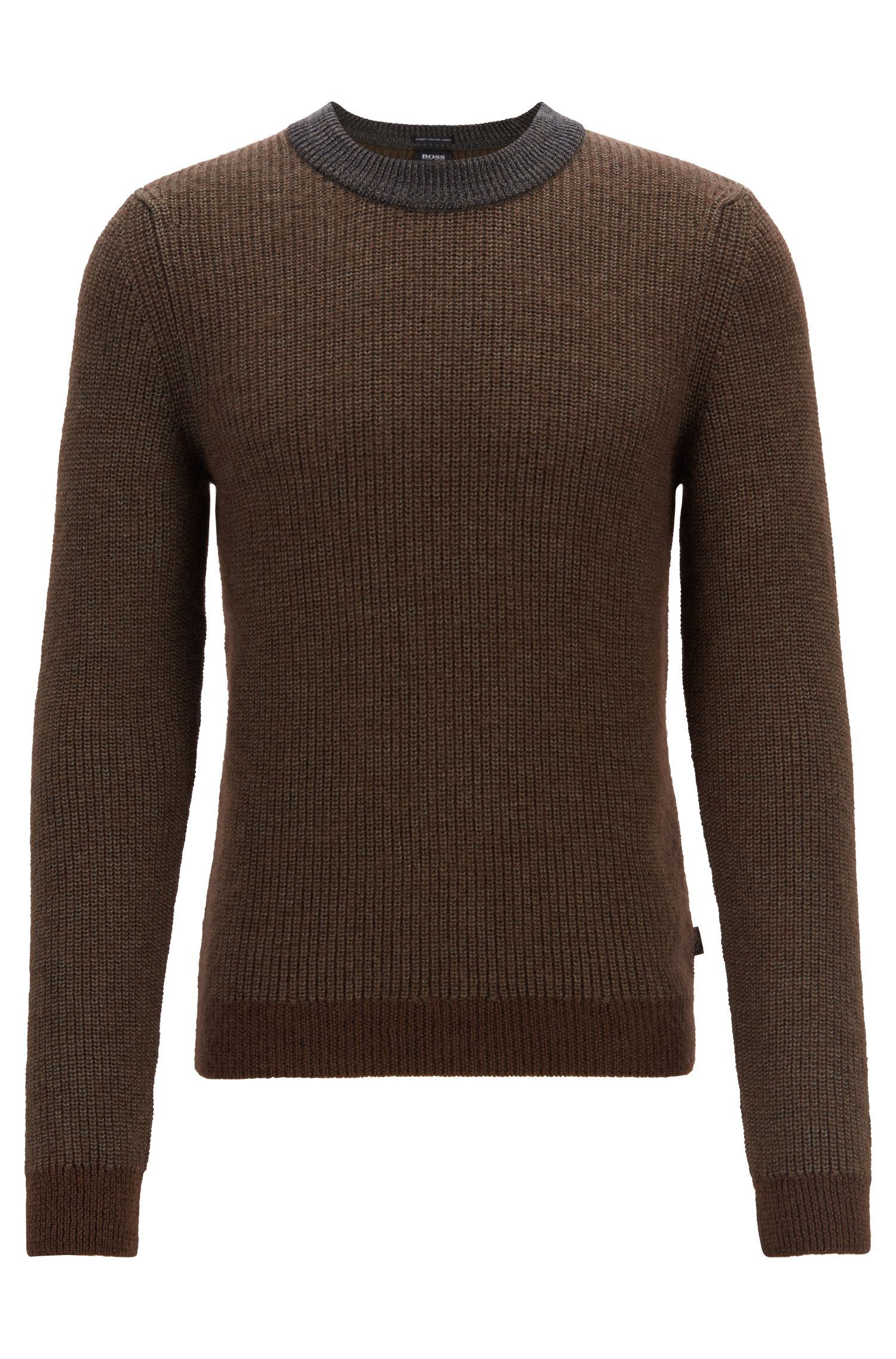 Jersey de cuello redondo en mezcla de lana virgen con textura, Gris claro