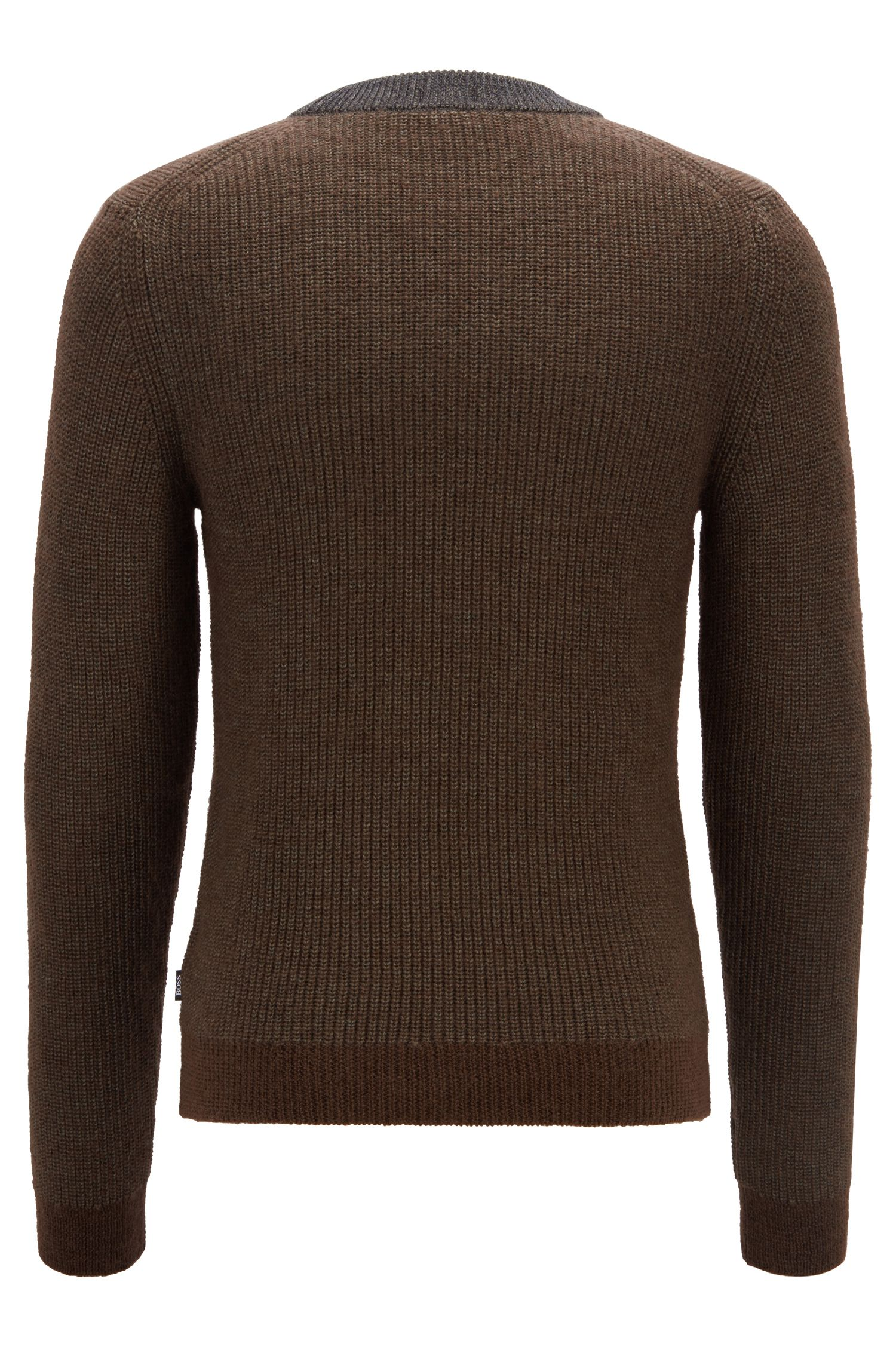 Crew-neck sweater in a textured virgin-wool blend, Open Grey