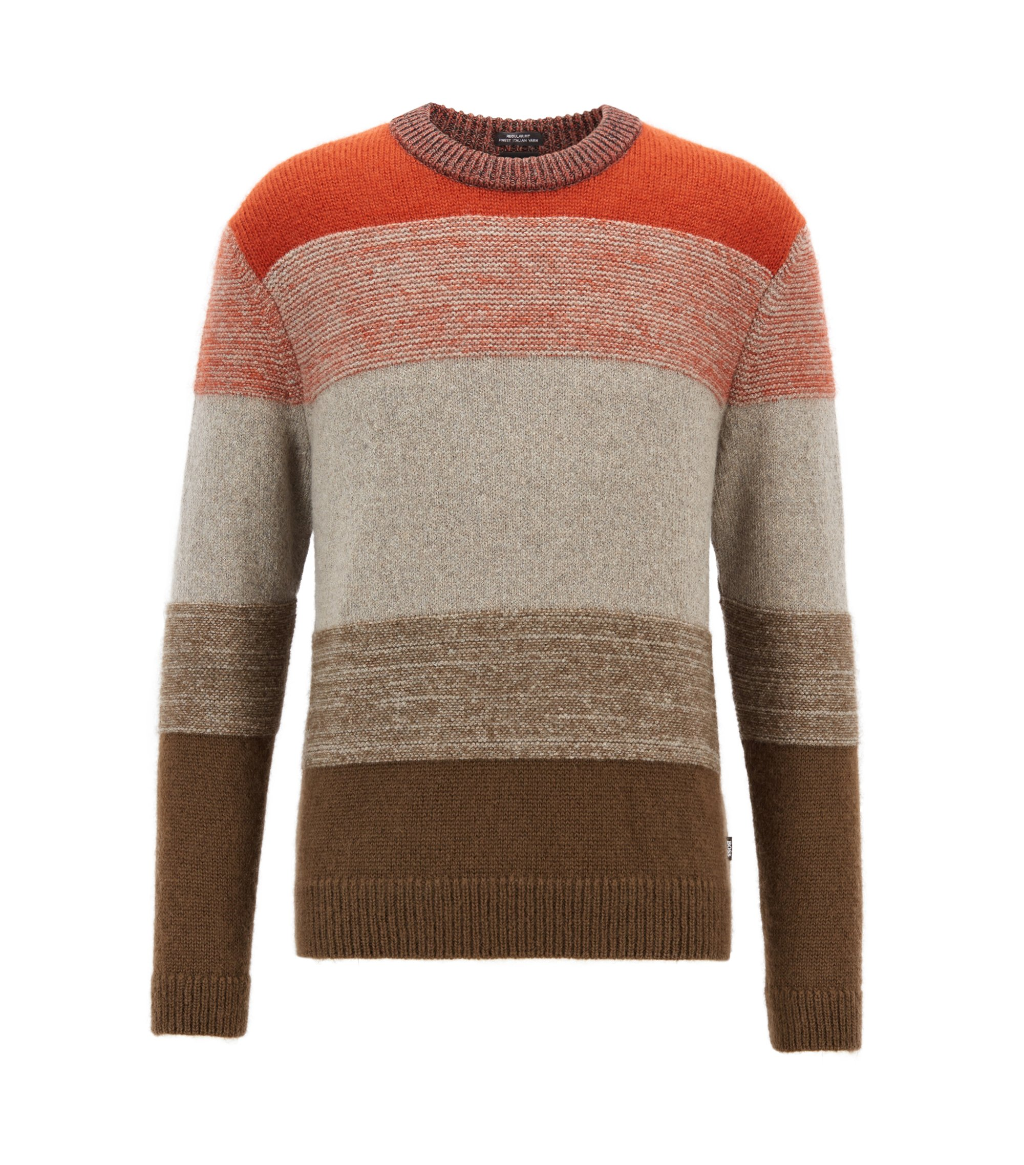 Textured sweater with dégradé colour-block stripes, Patterned