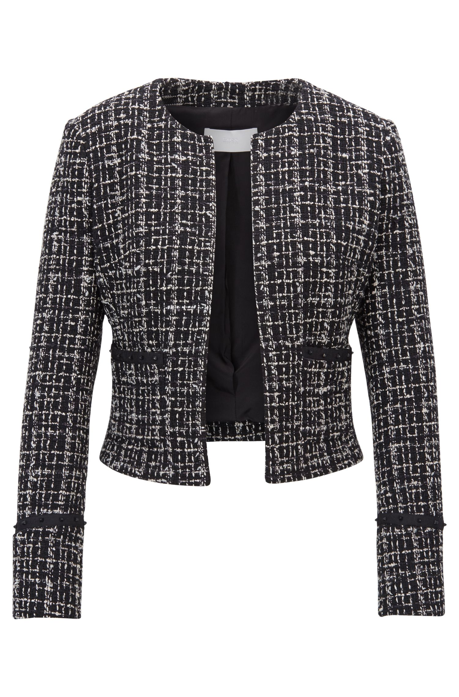 Cropped blazer in Italian tweed with studded tape details, Patterned