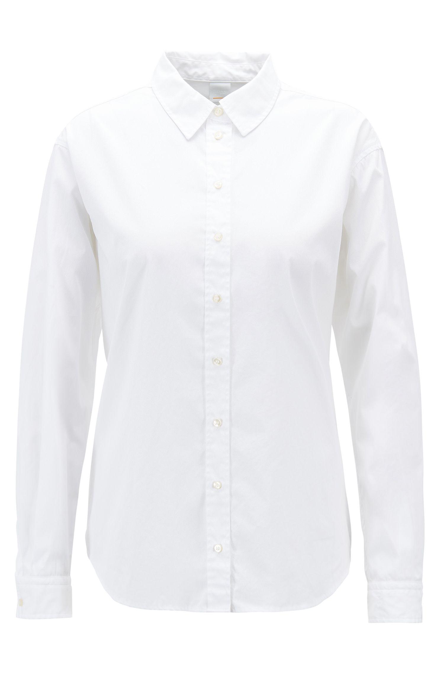 Regular-Fit Bluse aus gewaschener Baumwoll-Popeline, Weiß