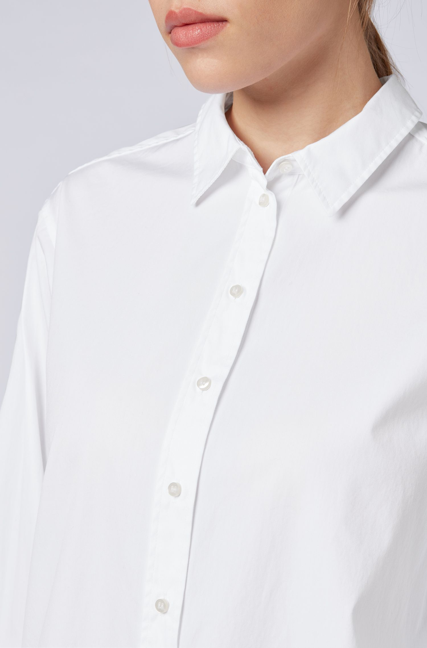 Regular-fit blouse in washed cotton poplin, White