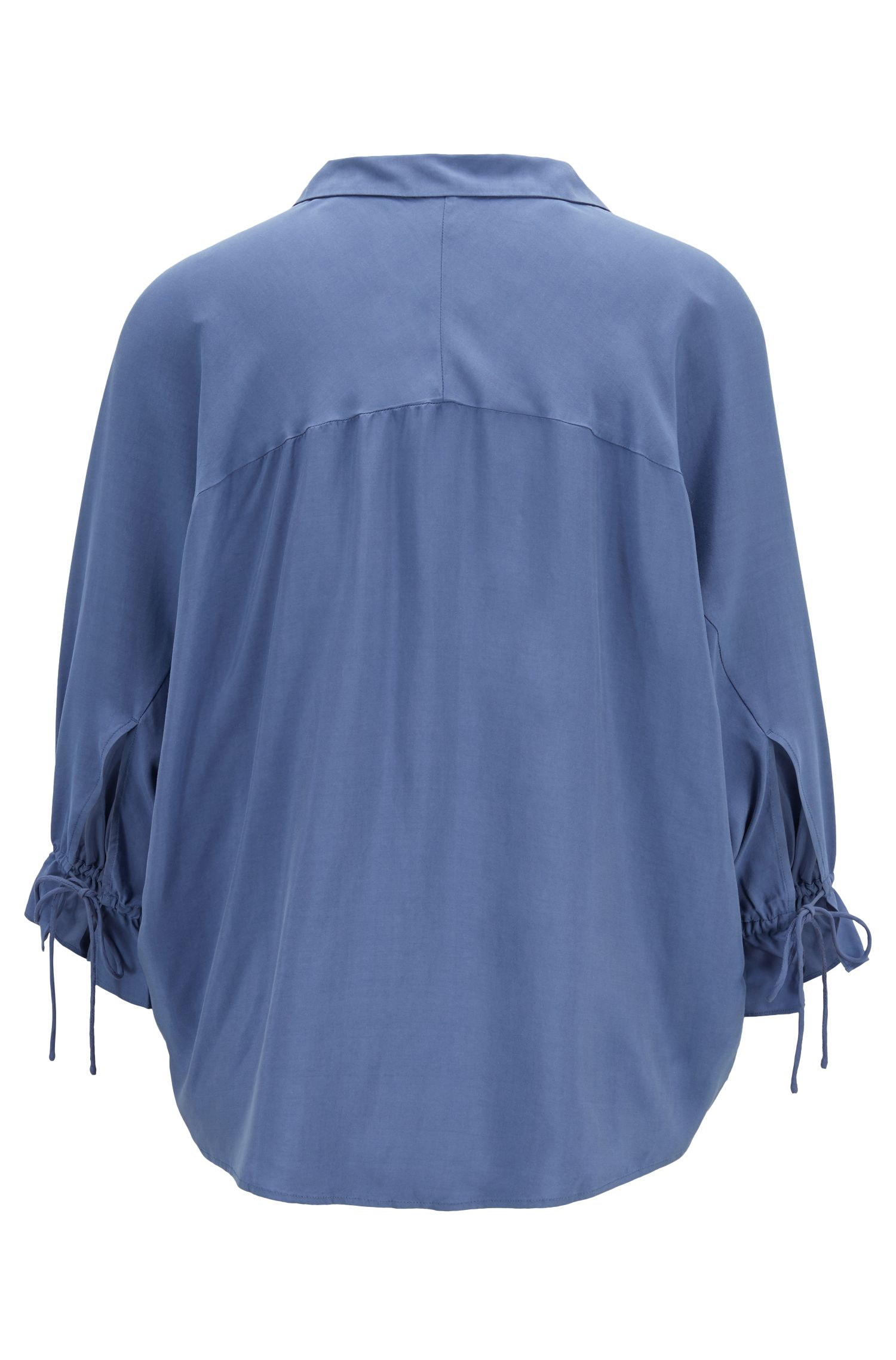 Relaxed-fit blouse with gathered cuffs, Blue