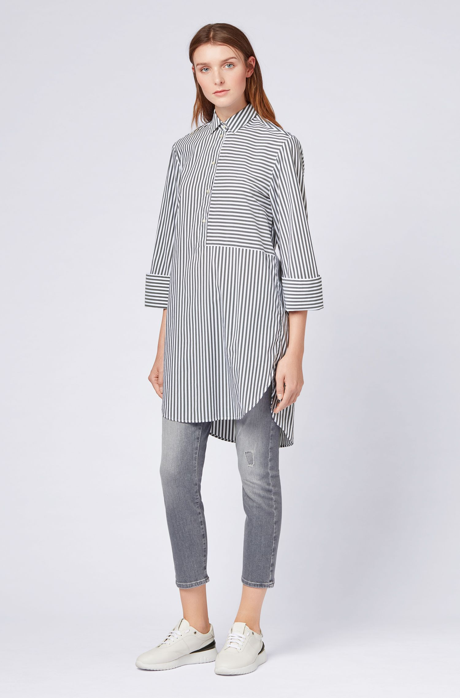 Relaxed-fit striped blouse in a stretch-cotton blend, Dark Blue