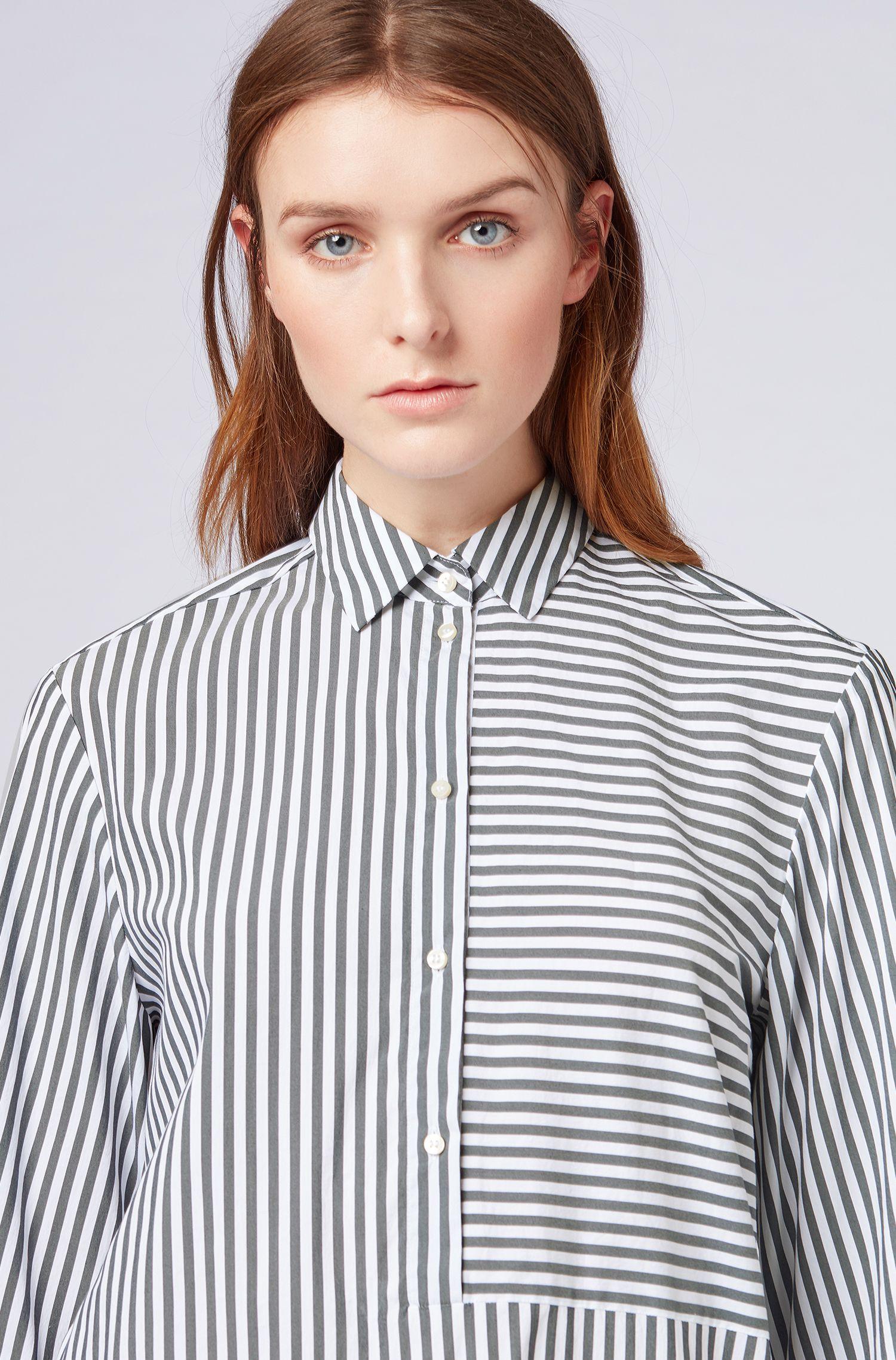 Relaxed-fit blouse van een katoenmix met stretch met streepdessin, Donkerblauw