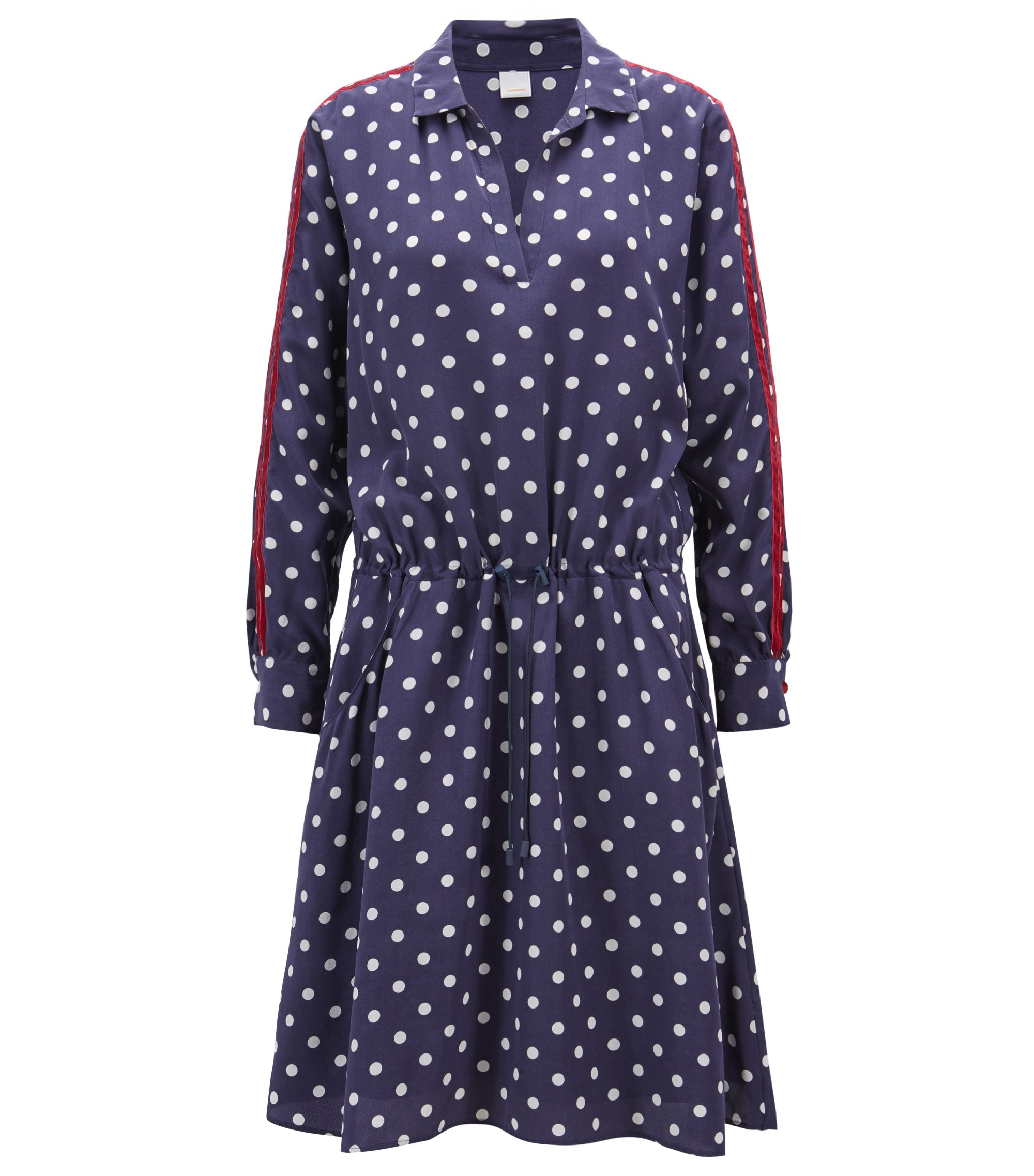 Relaxed-fit printed silk dress with velvet trims, Dark Blue
