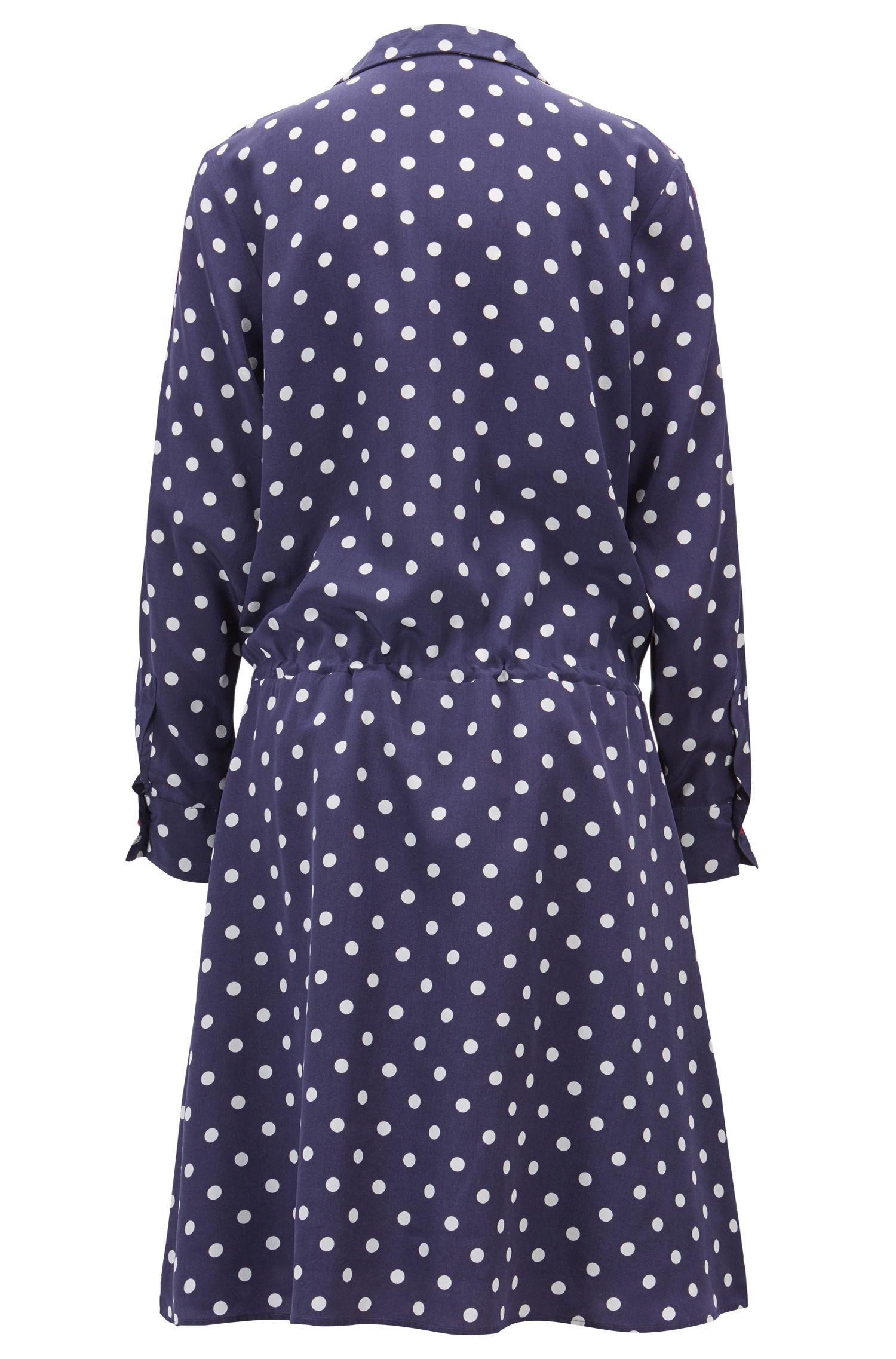 Vestido de seda relaxed fit con ribetes de terciopelo, Azul oscuro