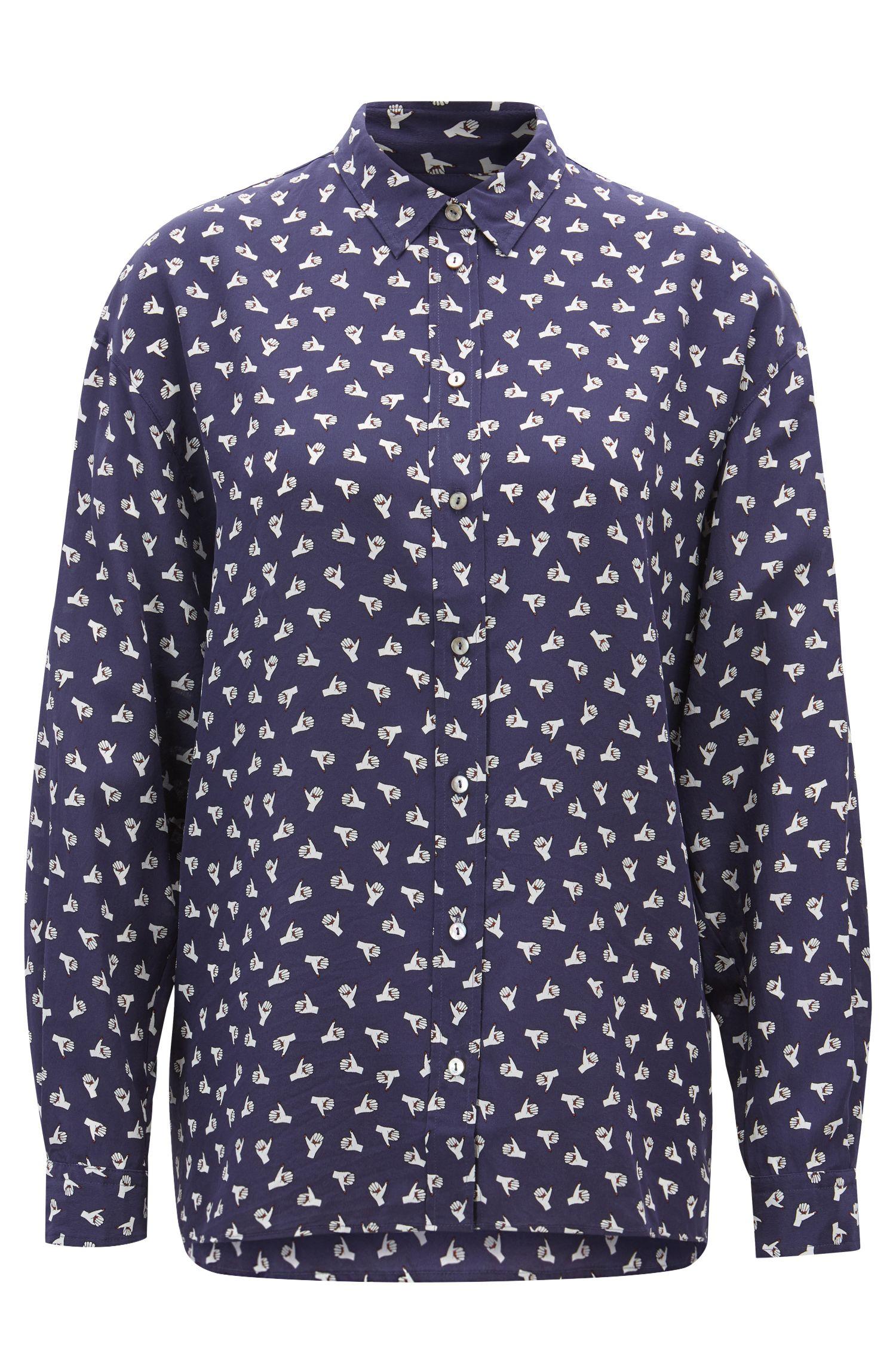 Oversized Bluse aus bedruckter Seide, Gemustert