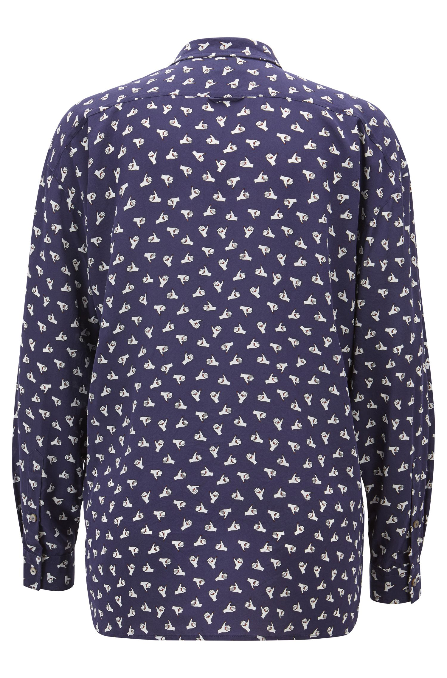 Oversize-fit blouse in printed silk, Patterned