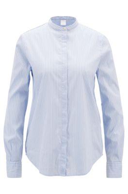Gestreifte Relaxed-Fit Bluse aus elastischem Baumwoll-Mix, Dunkelblau